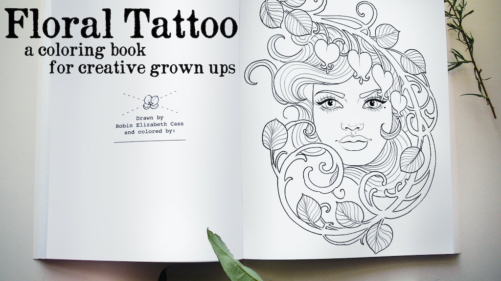 floral tattoo a coloring book for adults project video thumbnail - Tattoo Coloring Books