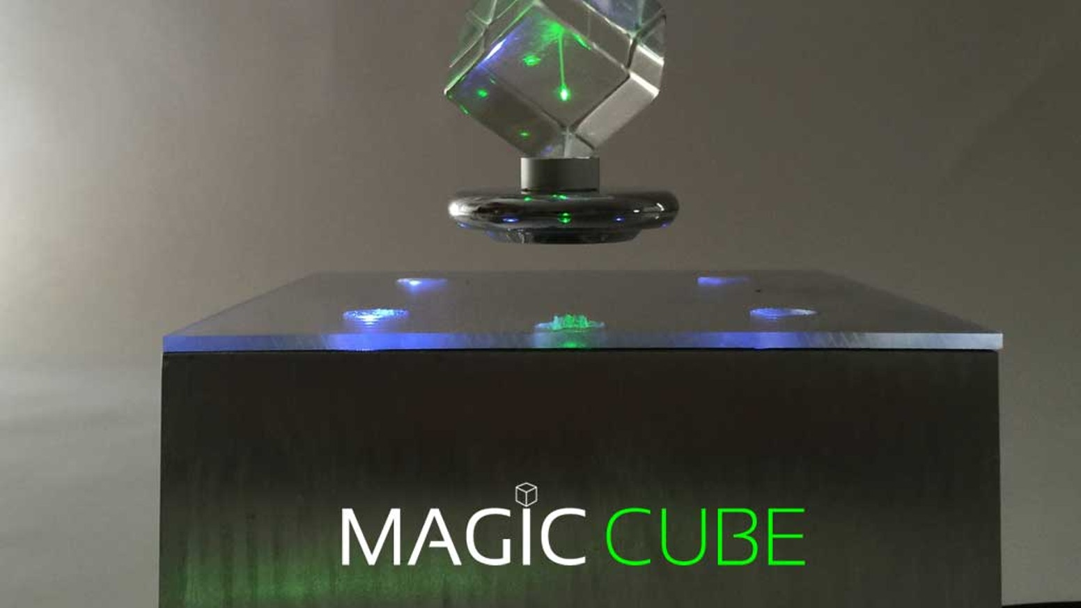 Mesmerizing: Magic Cube levitates prisms lit by  an embedded green laser. Designed in California. Order yours today!