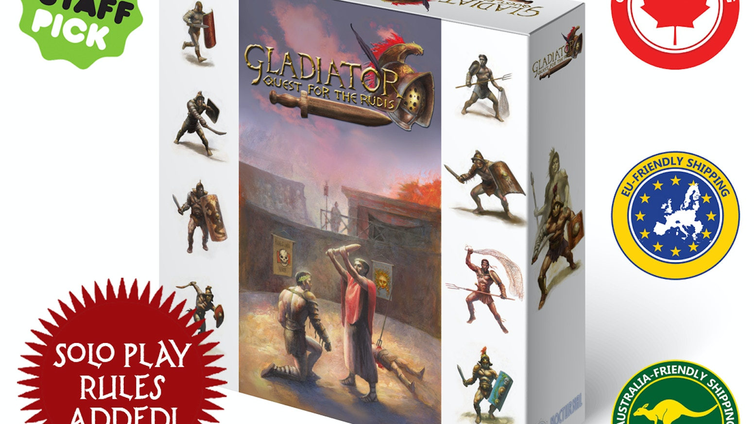 Each gladiator has a unique card deck in this huge board game where historical accuracy meets thrilling tabletop tactics & action.