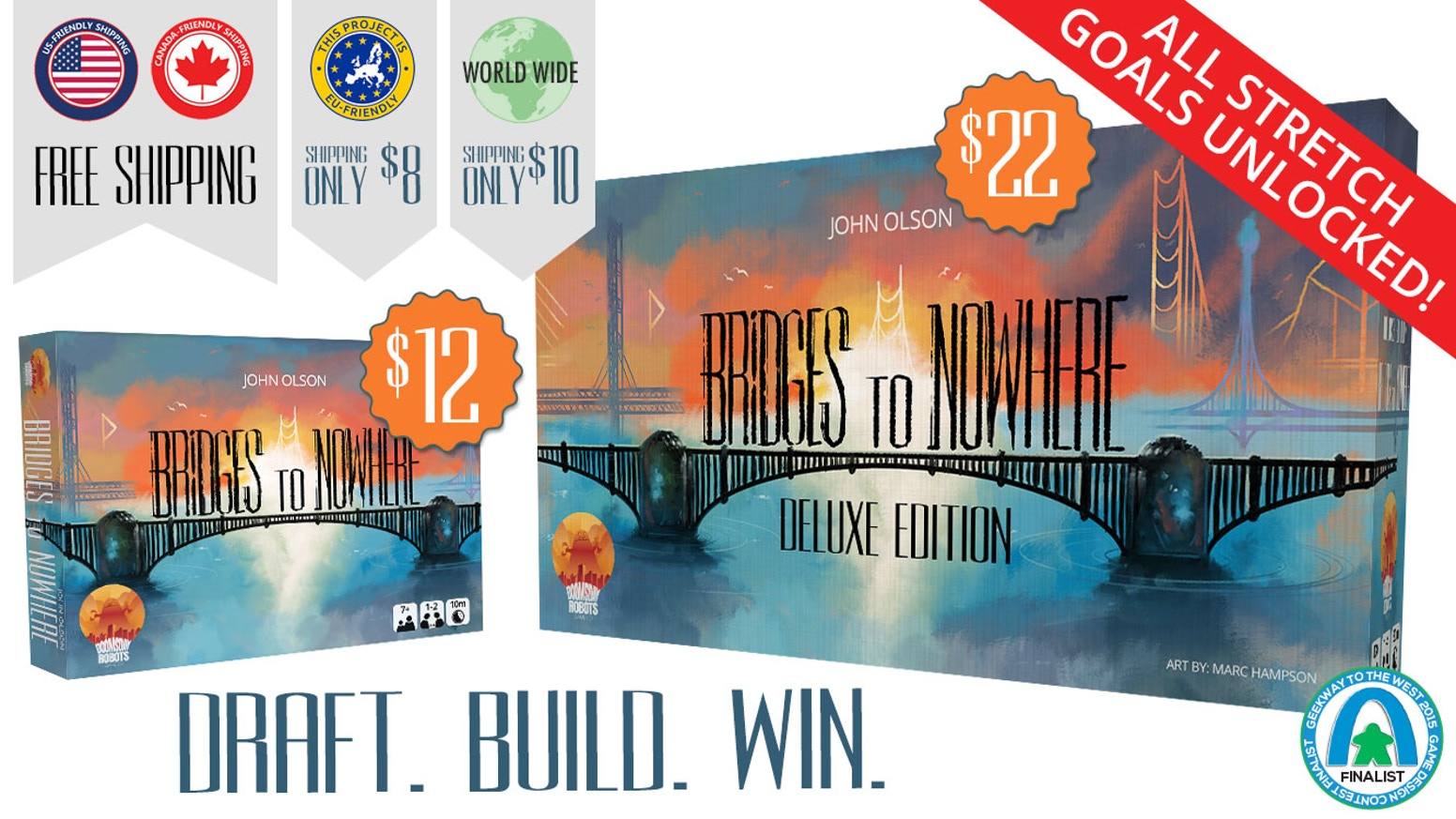 Strategically draft cards and build your custom bridge to win a lucrative contract in this light, but deep, micro-game for 1-4 players.