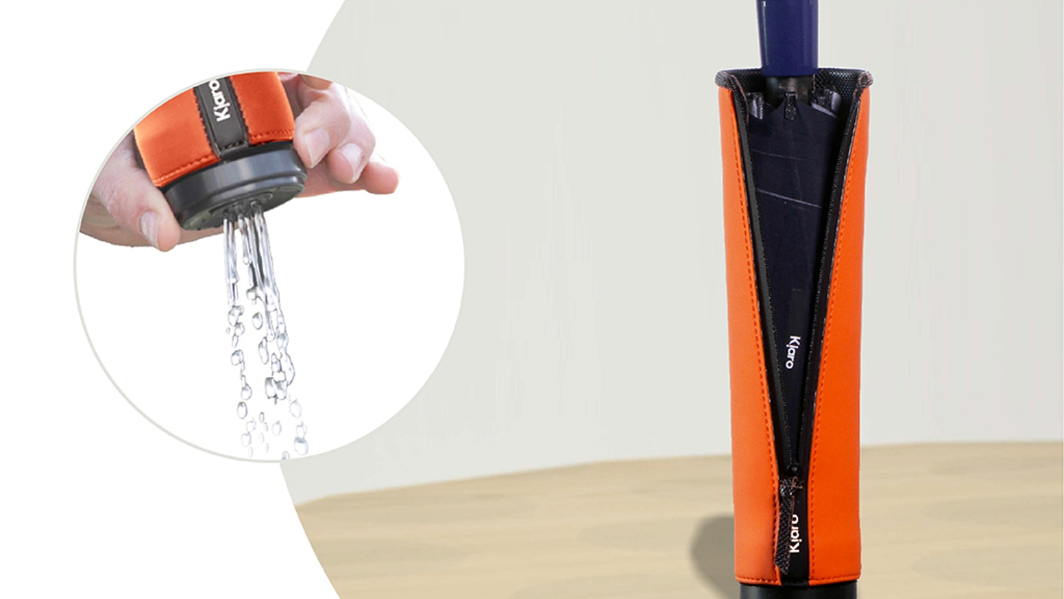 The best solution for urban travelers in case of rain: an innovative  umbrella equipped with the first fill-empty drops case.