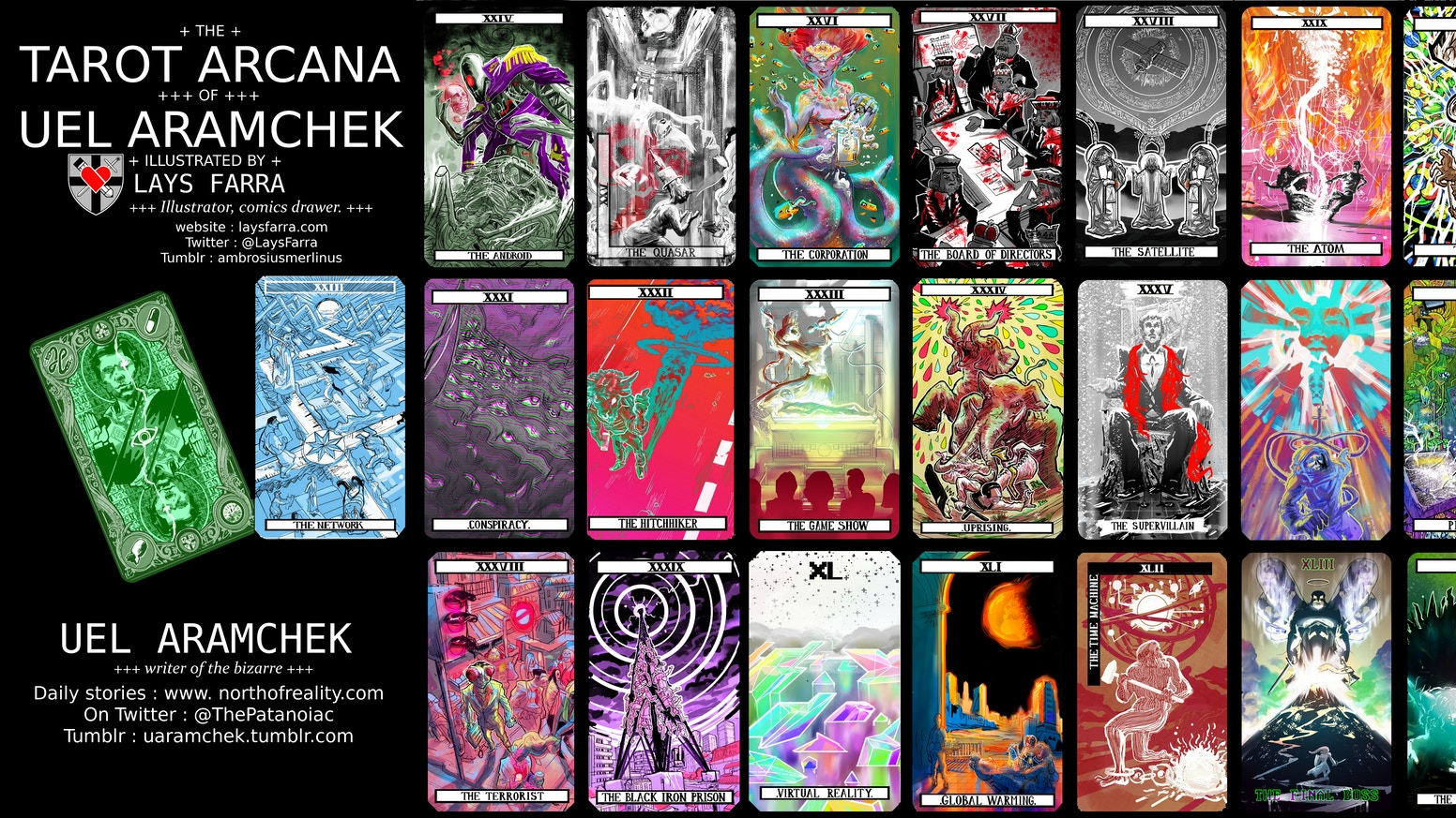 Twenty-two modern antipodes to the ancestral Tarot Arcana, written by Uel Aramchek and illustrated by Lays Farra.