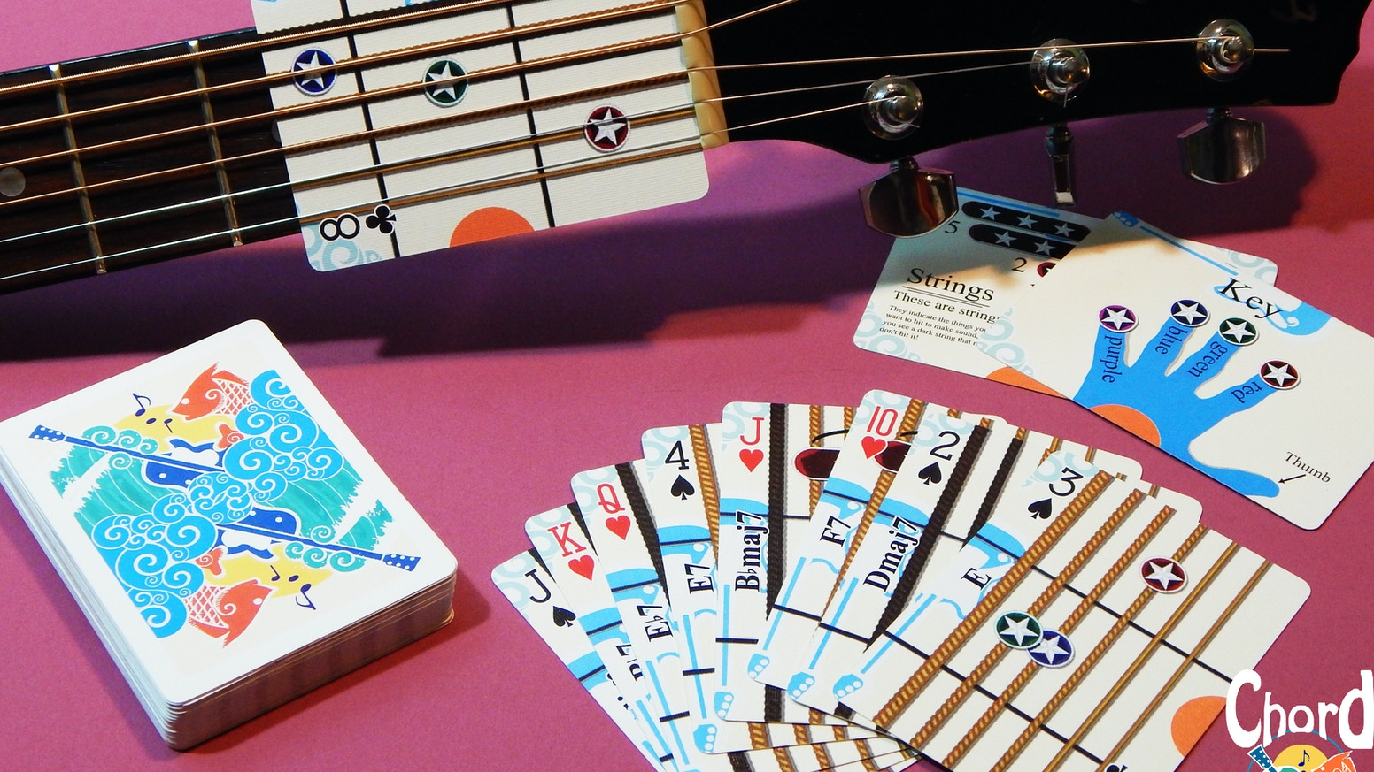 Chord cards by load k kickstarter these are chord cards playing cards that show you how to play the guitar hexwebz Images