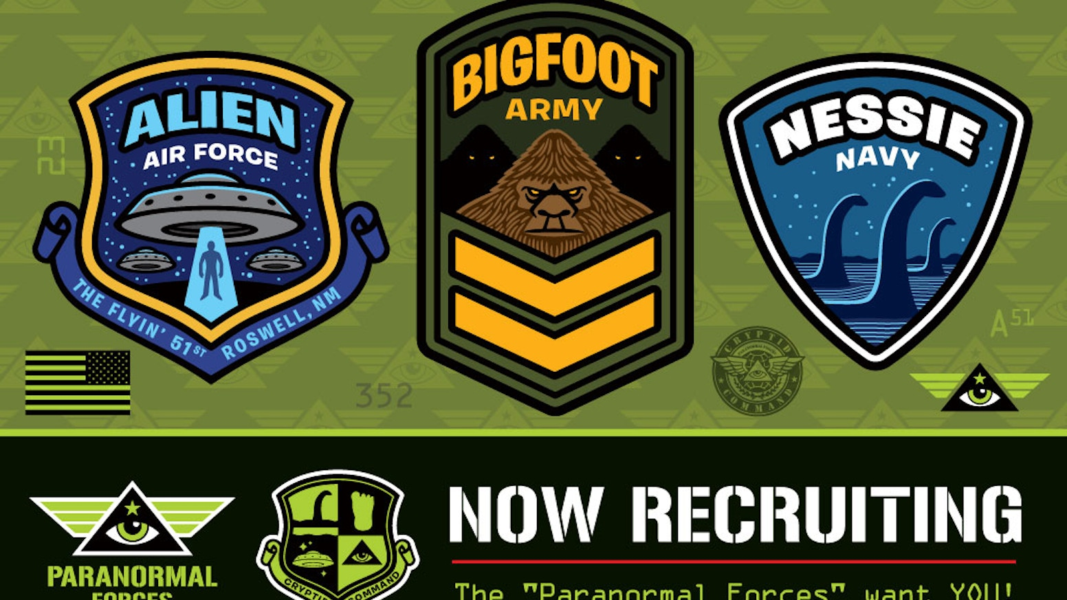 """Cryptid Command"" Series 1, Paranormal Forces. Military-style Embroidered Patch 3-pack: Bigfoot, Loch Ness Monster (Nessie), UFO/Aliens. Velcro!"
