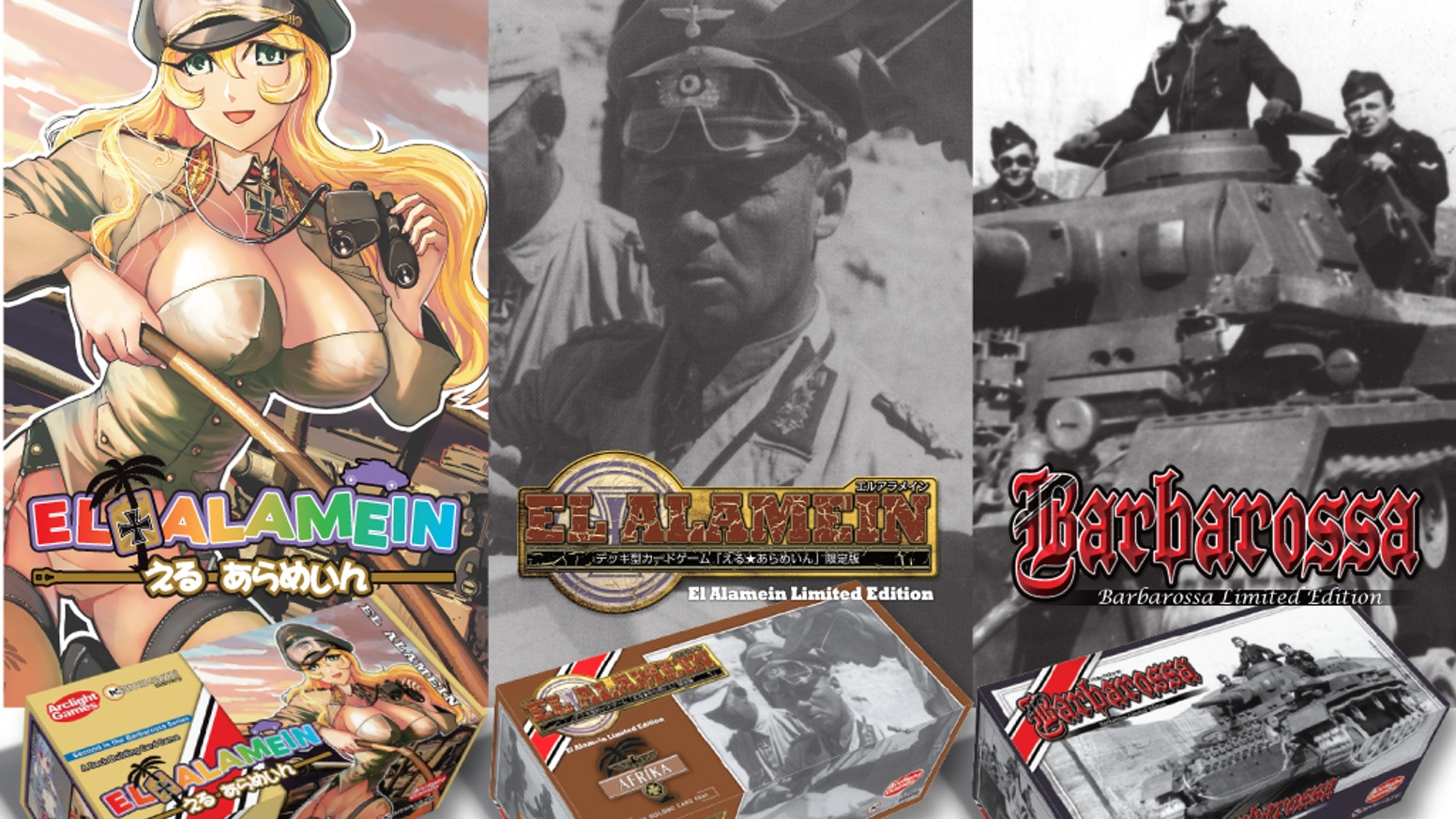 El Alamein is a deck building card game set in a fictional WWII universe where cute German military girls fight the British for Africa!