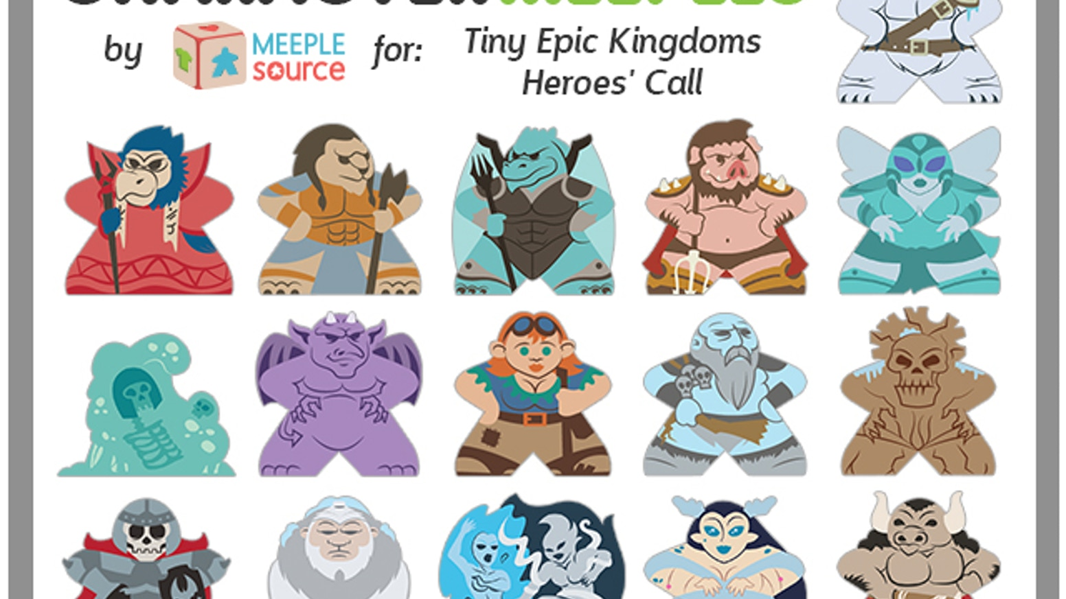 Complete your set of Tiny Epic Kingdoms Character Meeples with these 16 new factions!