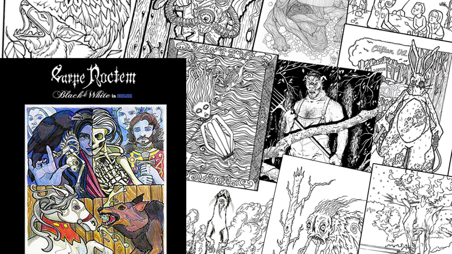 carpe noctem magazine halloween coloring book for adults by zed