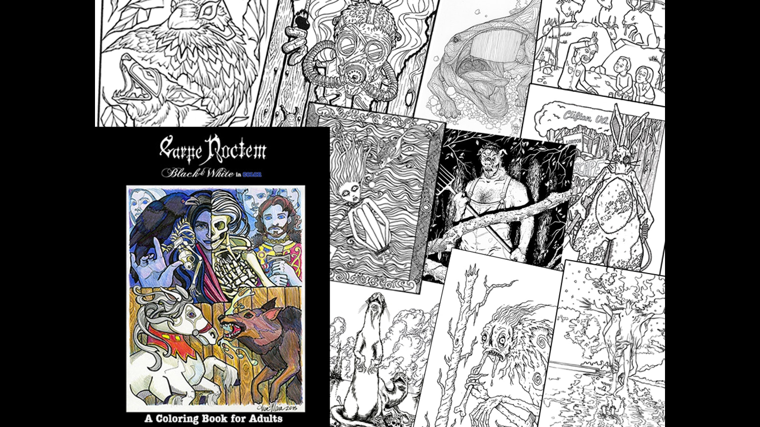 Coloring magazine adults - Carpe Noctem Magazine Halloween Coloring Book For Adults