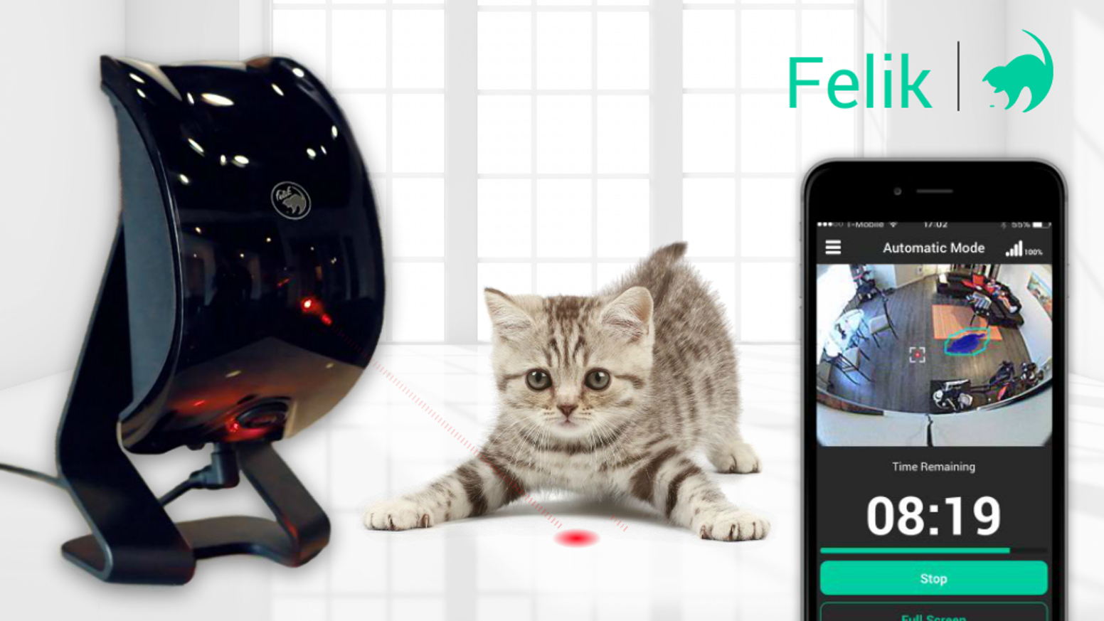 Powered by Artificial Intelligence. Camera tracks pets & Felik reacts to their motions automatically. Zero human interaction required!
