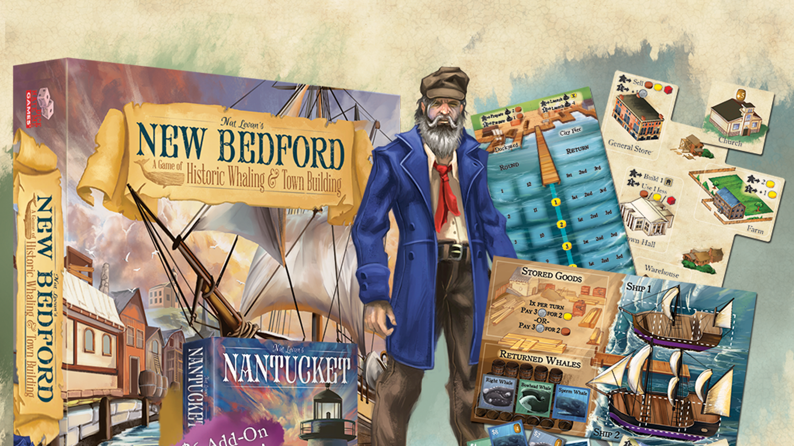 Manage fleet and town in this Euro-style board game for 1-5 players in the era of Moby Dick and historic New Bedford, Massachusetts.