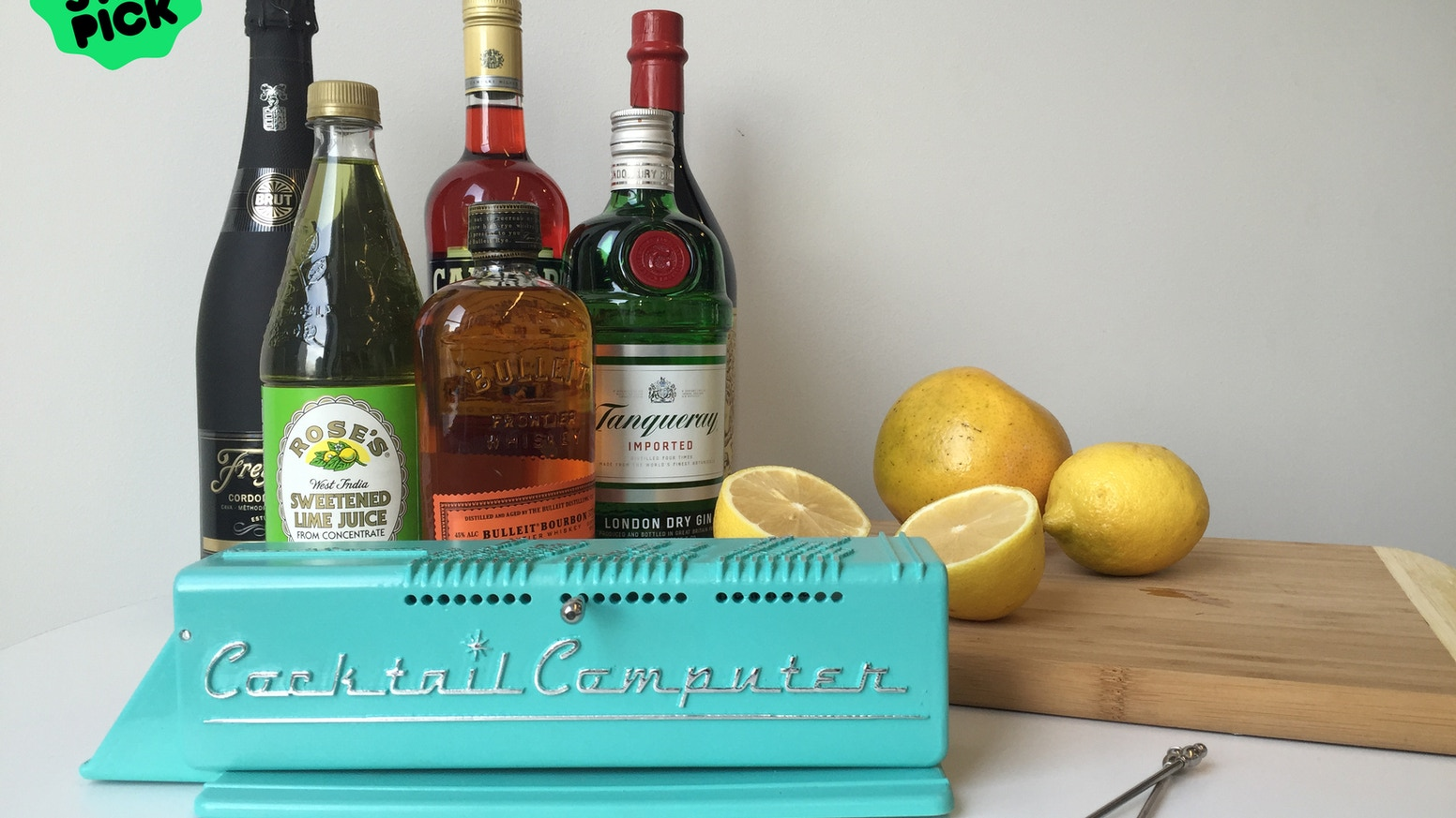 The Cocktail Computer suggests curated cocktail recipes based on the ingredients you have at home.
