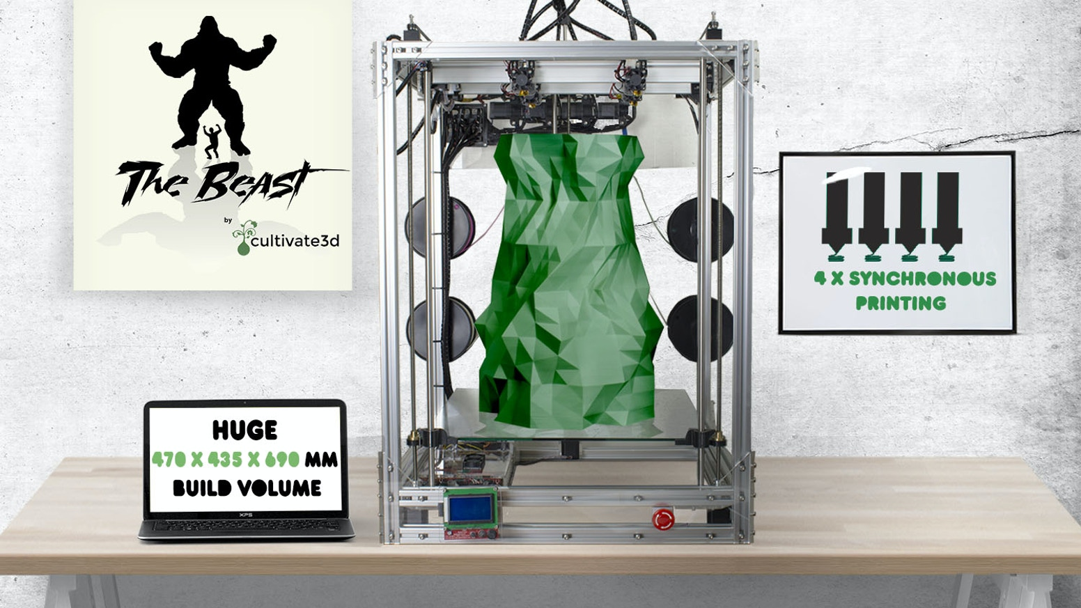 A 3D Printer so large it can print a child and has 4 x Synchronous print heads for duplicating prints.  Available fully built and DIY.