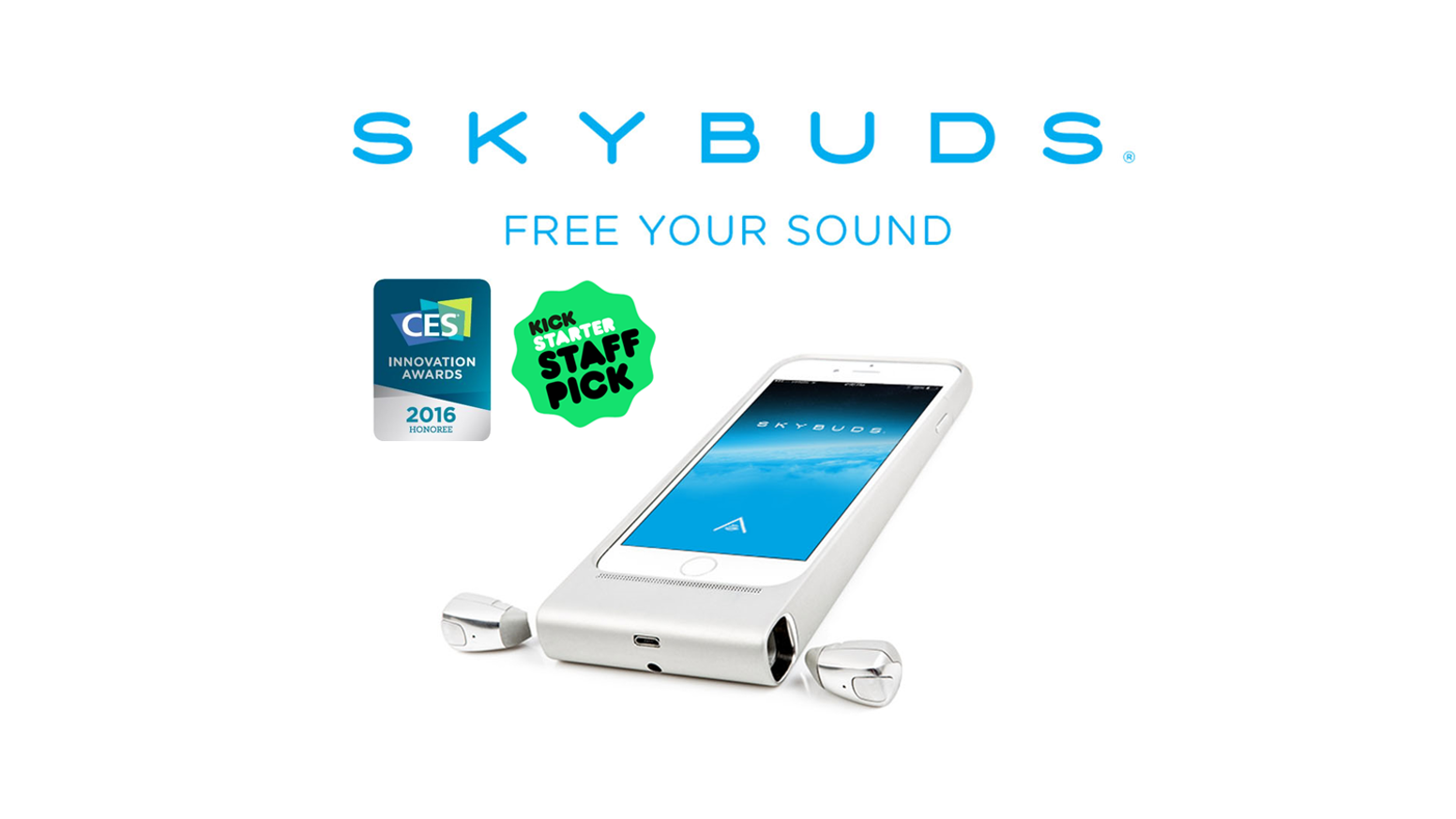Skybuds - Truly wireless earbuds and smartphone case for charging and storage.