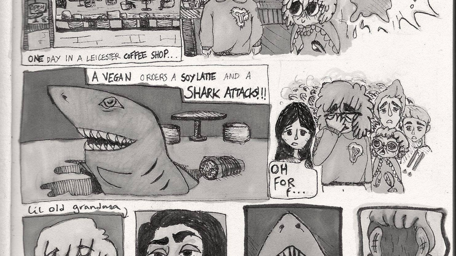Sharks in a Coffee Shop is a lo-fi, b-movie inspired zine comic illustrated by Rhiannon Townsend and written by Courtney Askey.