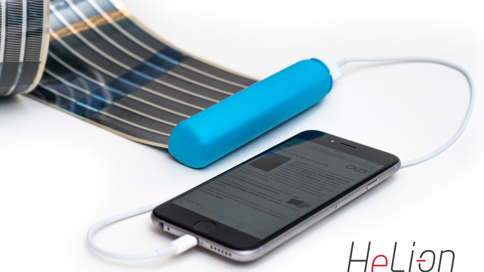 The infinityPV HeLi-on charger allows you to carry a solar panel and battery in your pocket.