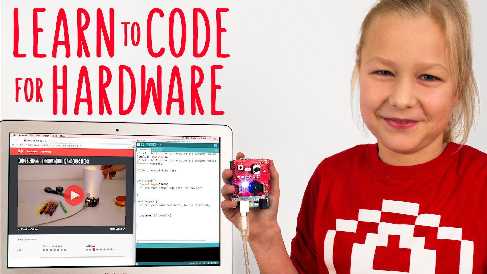 Awesome Shield teaches hands-on coding, powered by Arduino. For kids aged 10-100.