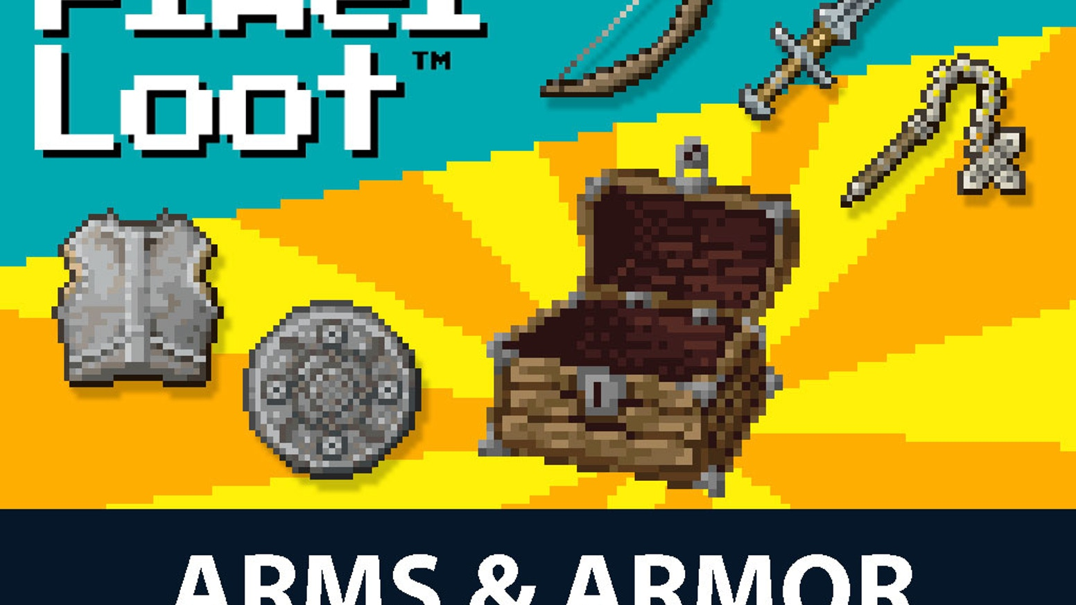 System-generic treasure cards for your favorite fantasy role-playing game, with a retro 16-bit pixel art theme. Arms & Armor is available now, so order your copy today!
