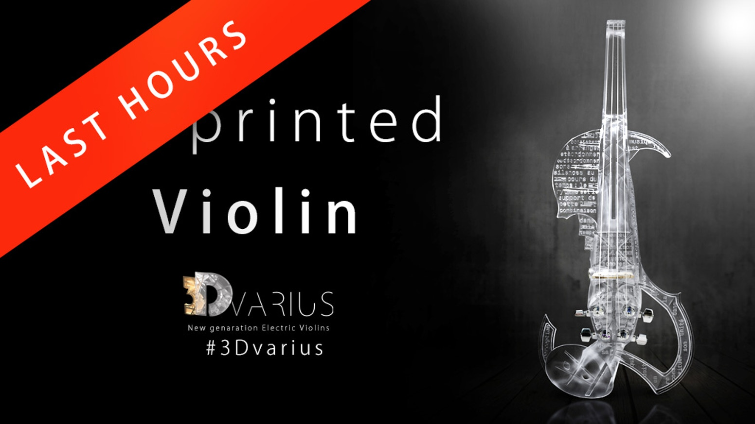 The 3Dvarius is a high-end concert electric violin created by 3D printing technology and based on the model of a Stradivarius violin.