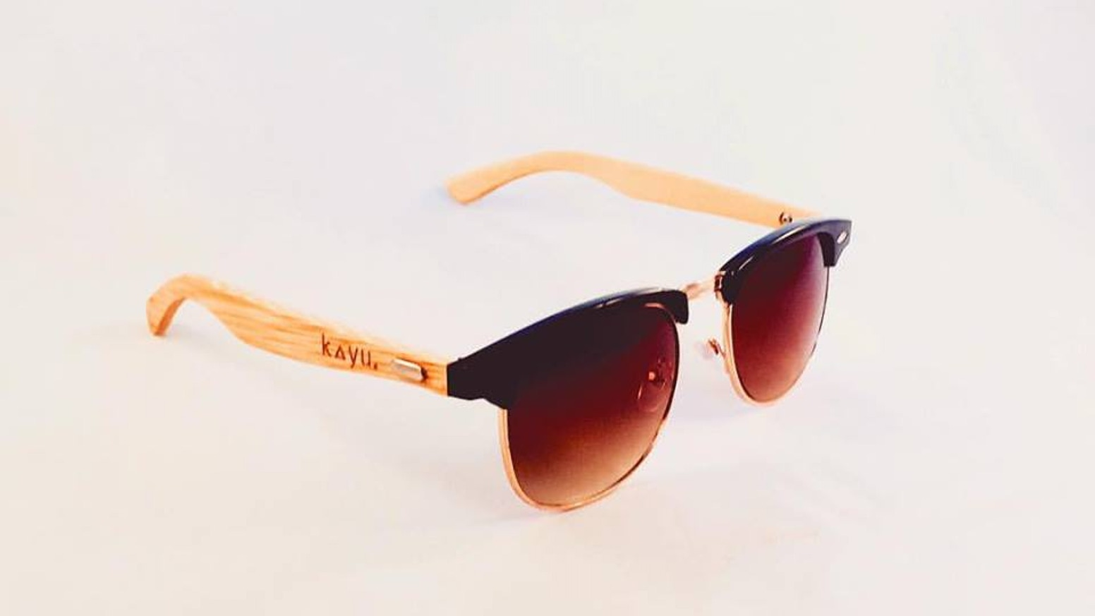 db4b5d2c43160 Kayu  Sol  Bamboo Polarised Clubmaster Style Sunglasses by Mat ...