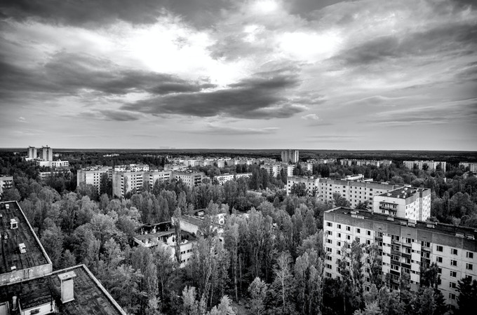 A view of Pripyat from an apartment block