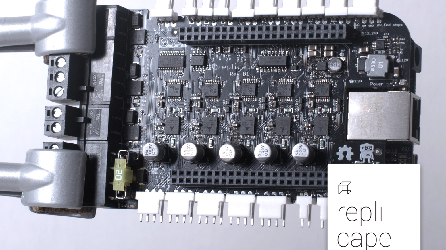 Replicape is a smart, silent and user friendly controller board for your 3D-printer