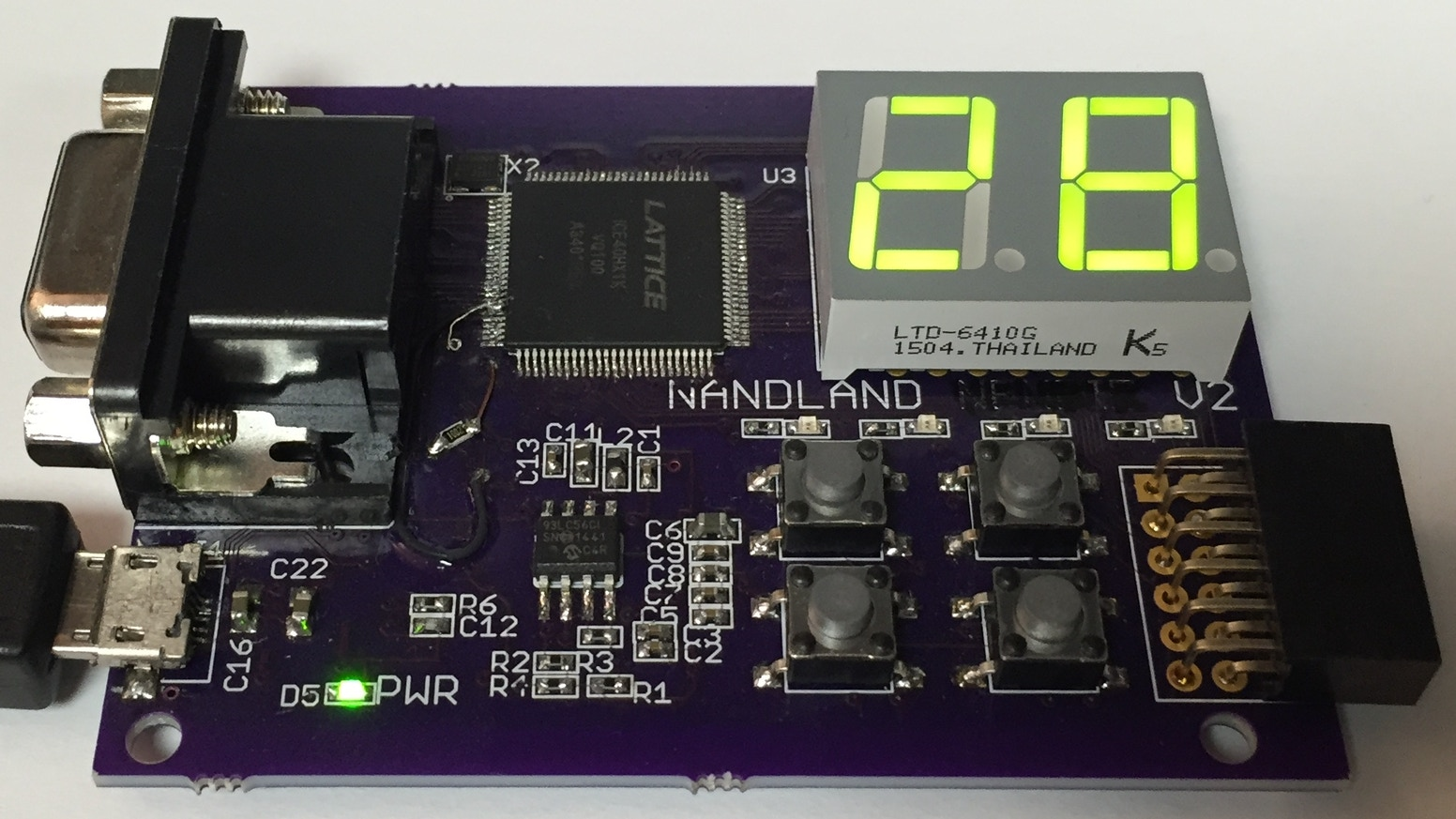 The Nandland Go Board is an inexpensive easy-to-use FPGA development board with LEDs, Buttons, VGA, and other accessories!