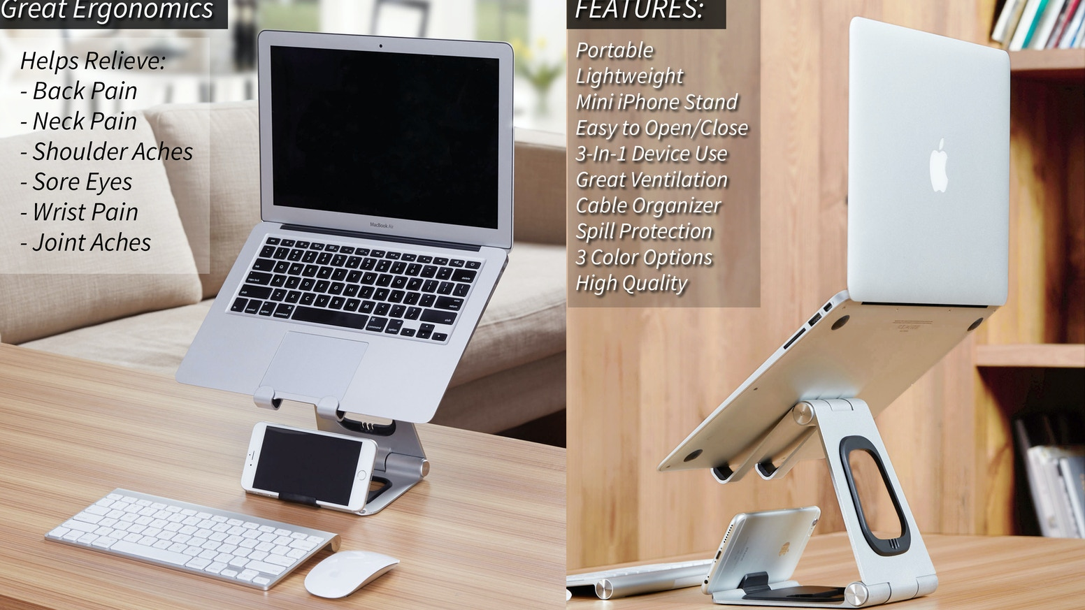 The World's Best Laptop Stand. Lightweight, Portable Stand with Lower Phone Display, Laptop Ventilation, Cable Organizer, and more...