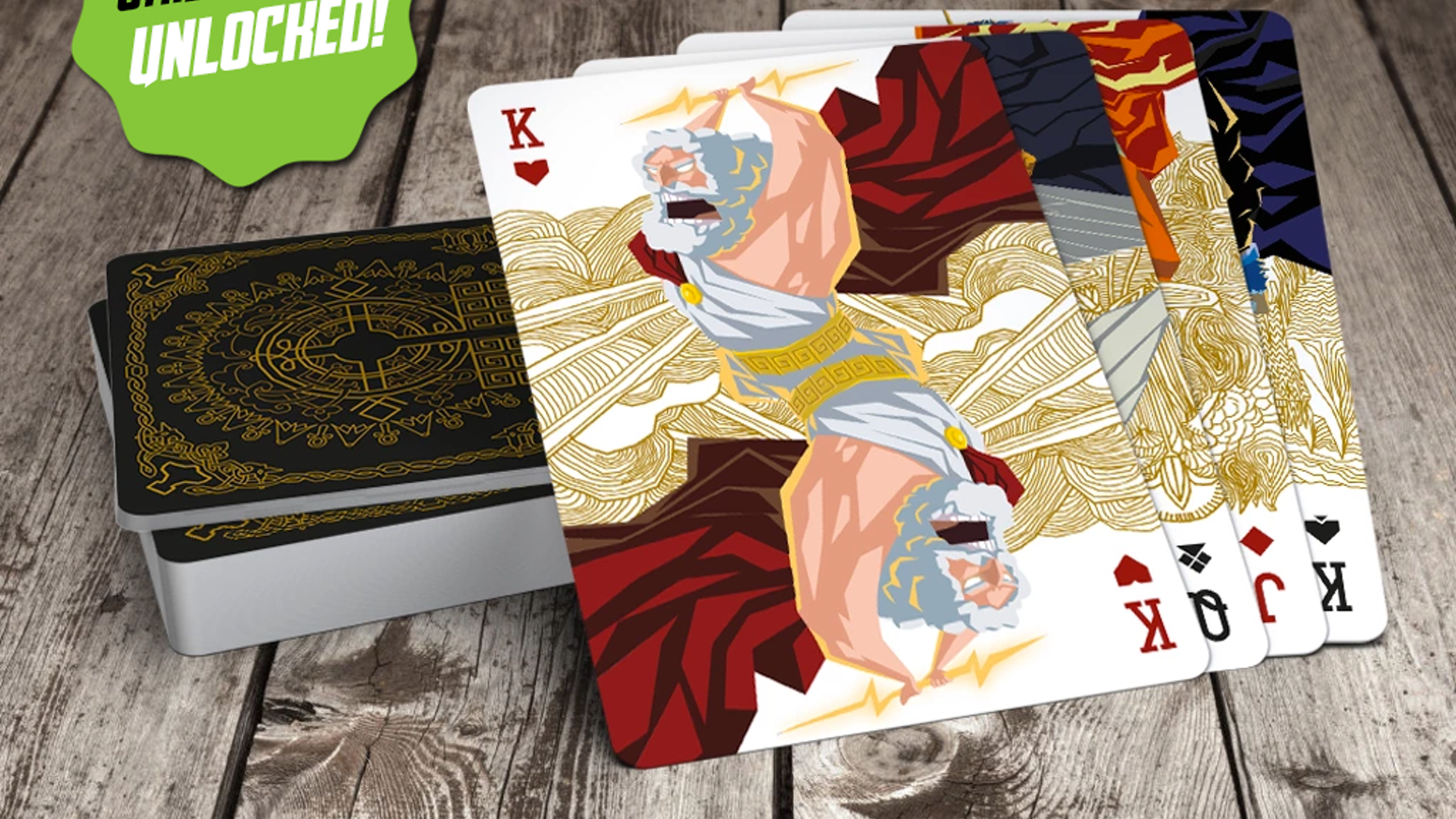 Epic playing cards with gods from the World of Mythology game. Cello-wrapped premium quality 310 gsm, linen card stock, special varnish!