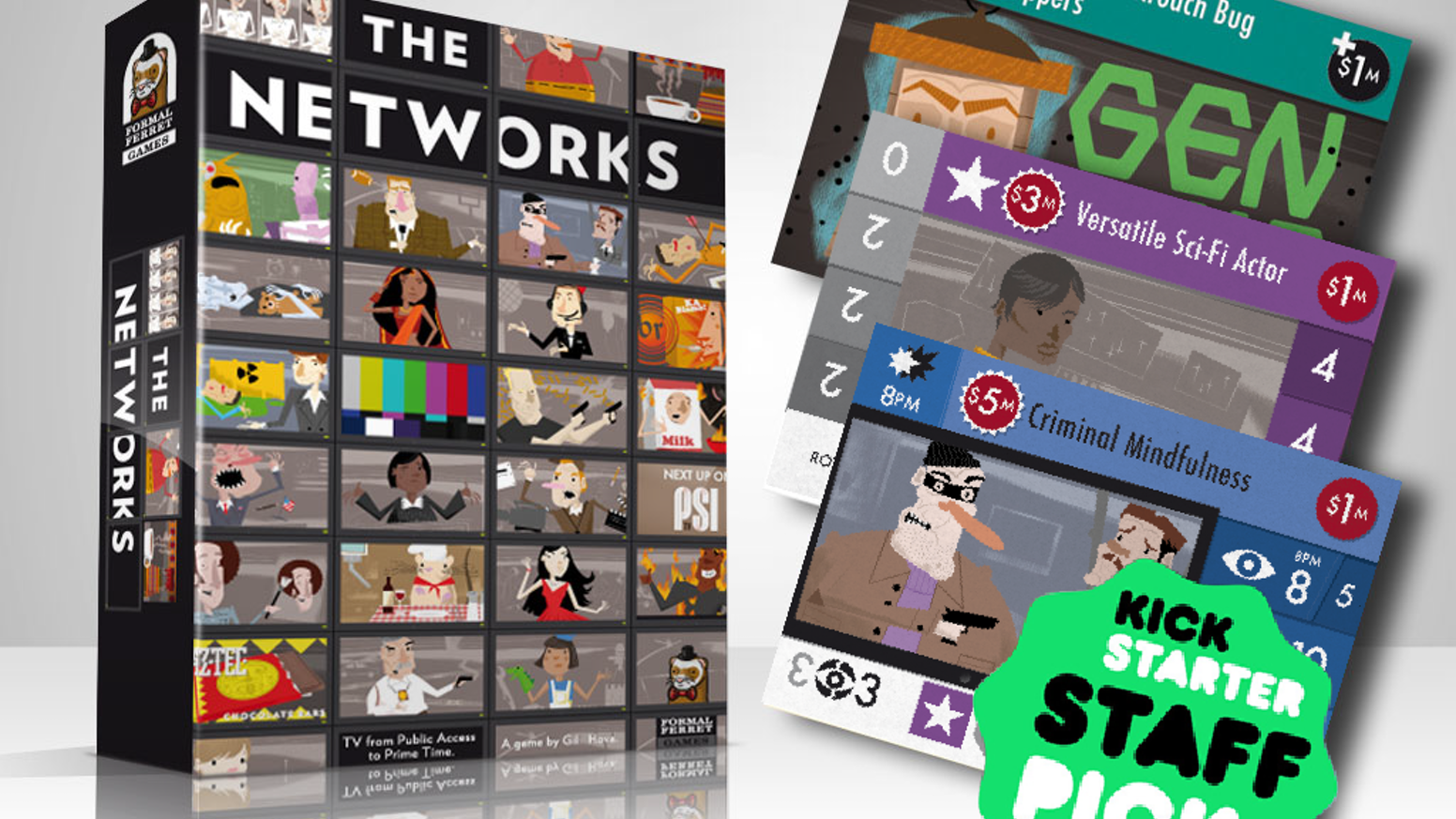 A tabletop strategy game where you acquire shows, stars, and ads to build the TV network with the most viewers.
