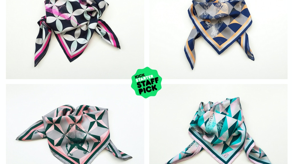 Project image for VOLPINE Quirky Illustrated Luxury Silk Scarves