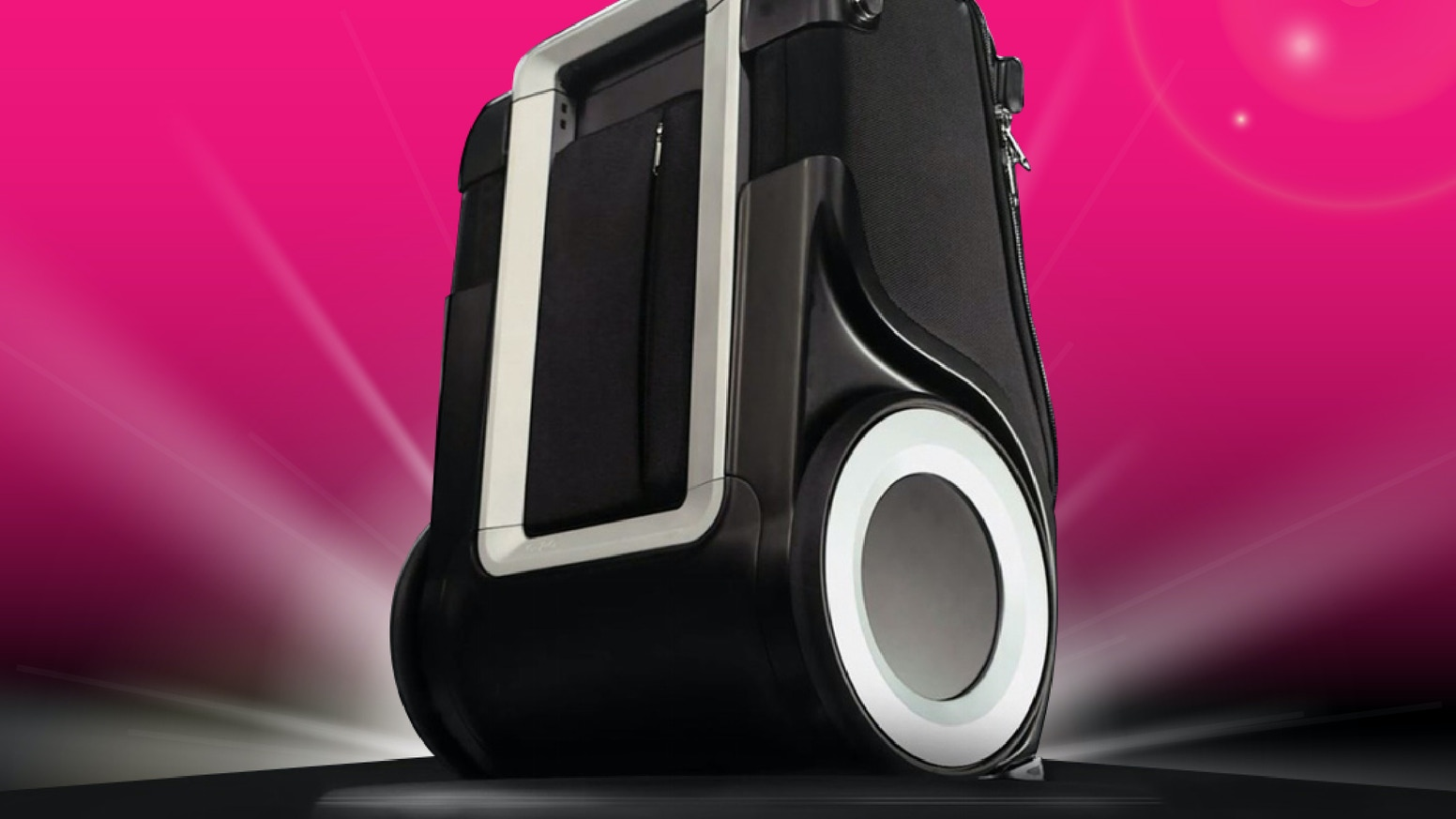 The world's best carry-on luggage - its patented over-sized wheels change EVERYTHING! More than a suitcase, it's a travel companion!