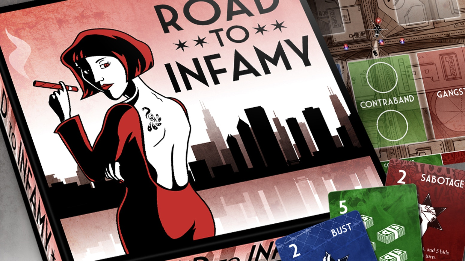 A fast-paced board game where gang leaders compete to run the most infamous crime operation in Chicago. Order now at RoadToInfamy.com