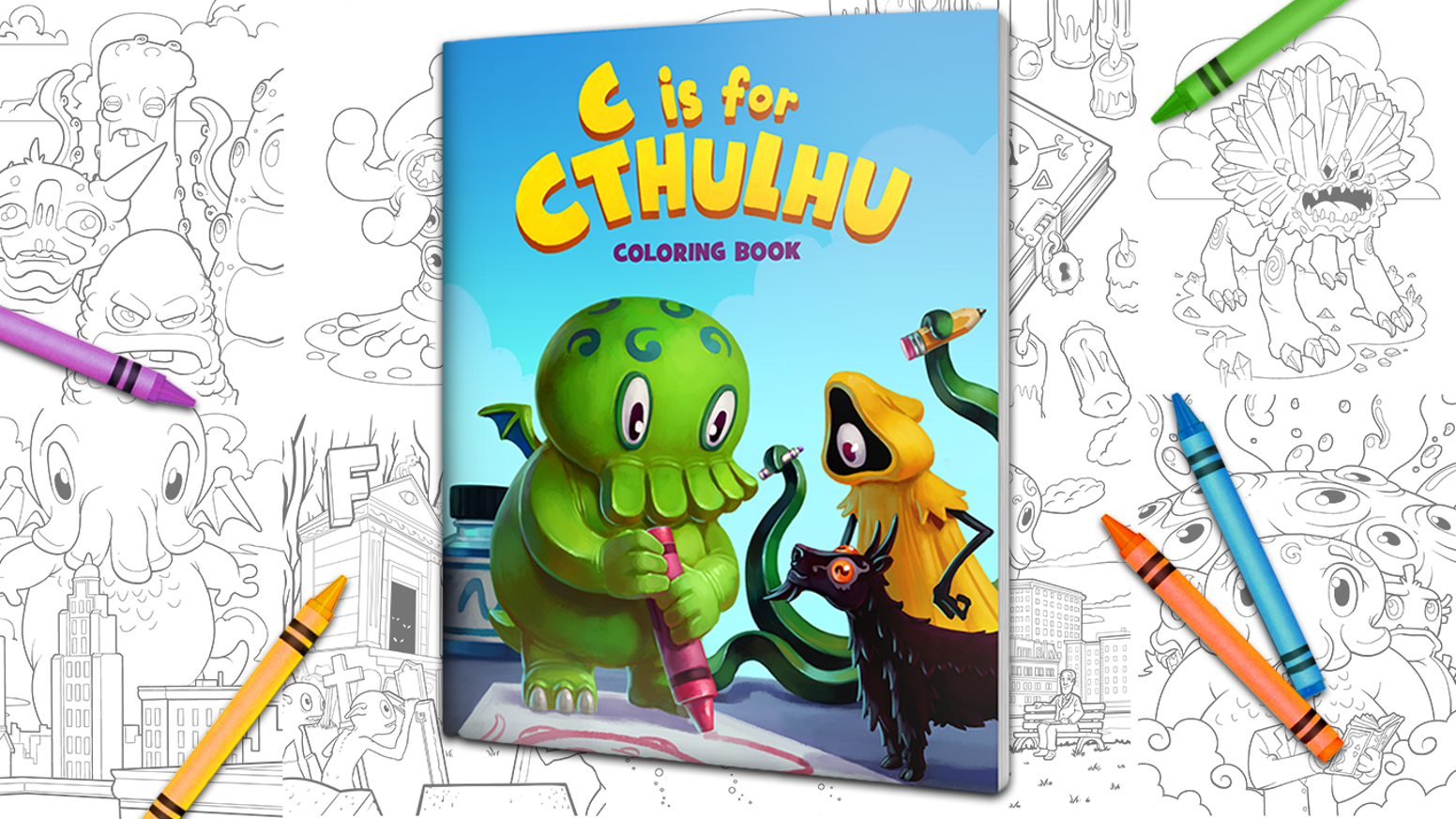 Share the Lovecraft with your little monsters by coloring Cthulhu, Hastur, H.P. and more in this creepy and cuddly coloring book.