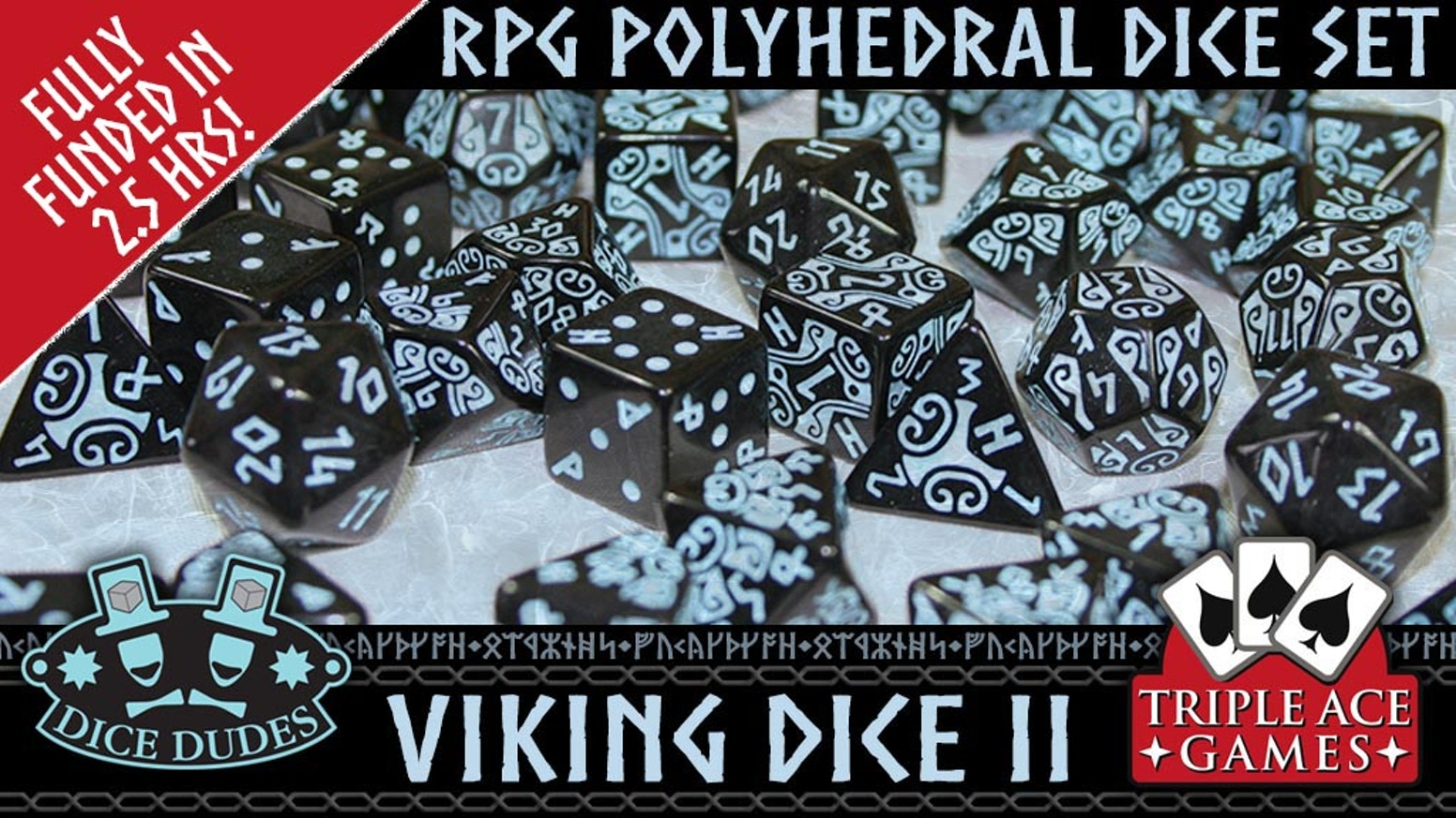 A  beautifully crafted set of 7 Viking themed polyhedral dice for Celtic or Viking themed RPG's.