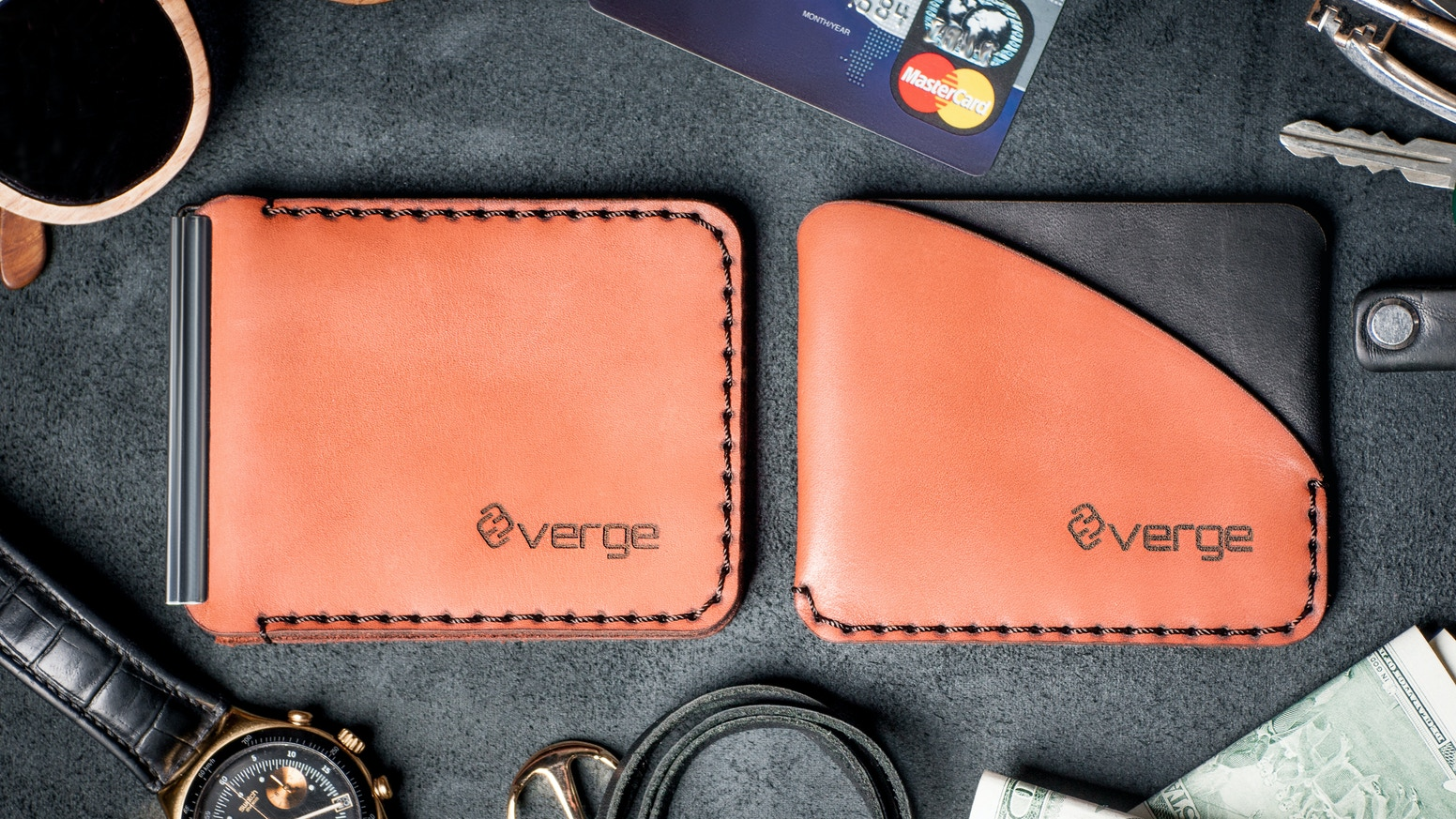 Minimalistic slope wallet and ascet money clip will become a new place for your cash and cards