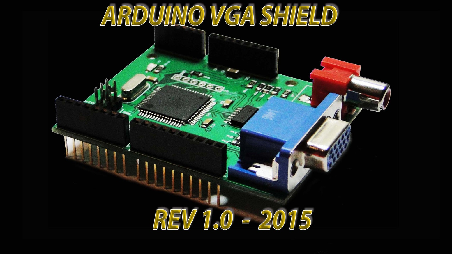 VGADuino is a small Graphic card Shield for Arduino boards that can be connected to any kind of TV or Monitors with RGB or AV ports