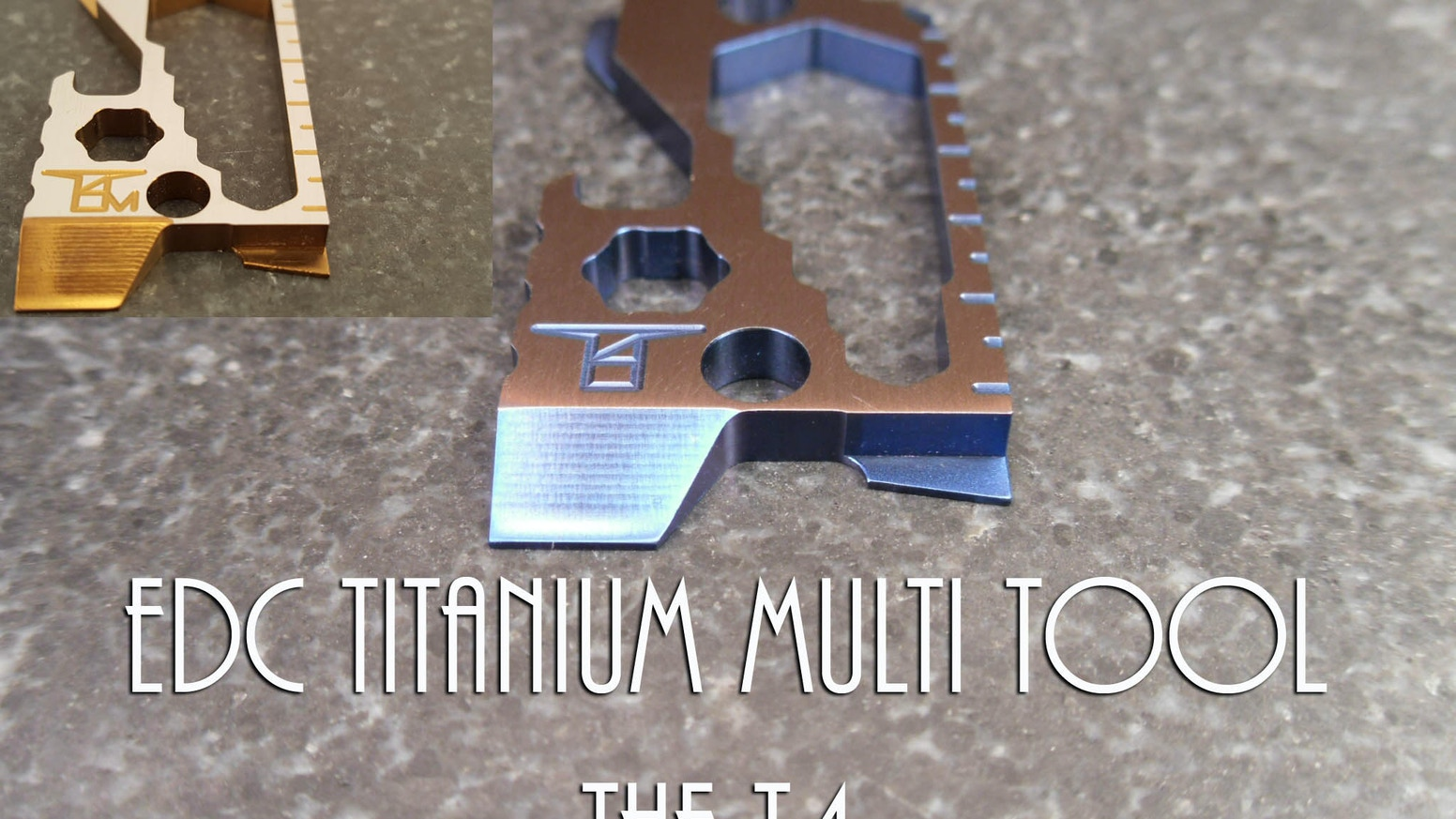 A small titanium multi tool with many features.