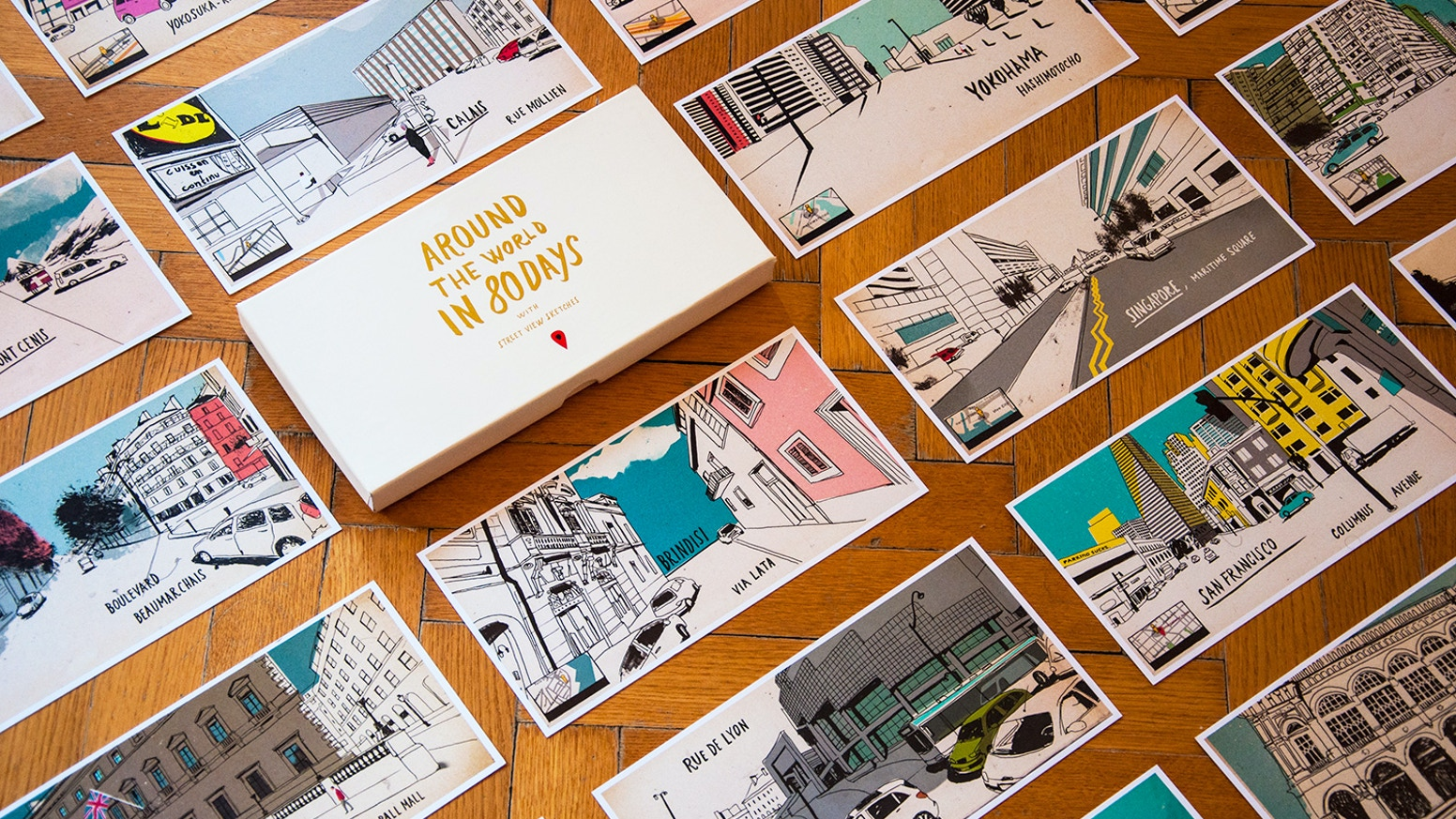 A collection of 40 illustrated postcards in a box, following the route of the novel Around the world in 80 days on Google Street View