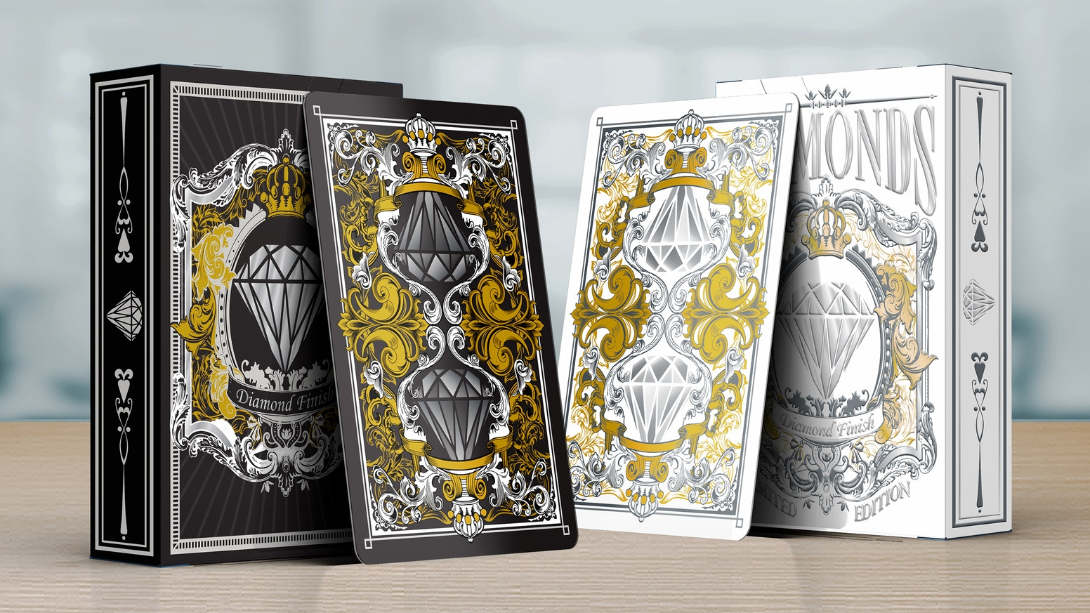 A fully custom deck of luxury playing cards, design inspired by diamonds. Get it now before its too late! Limited decks available.