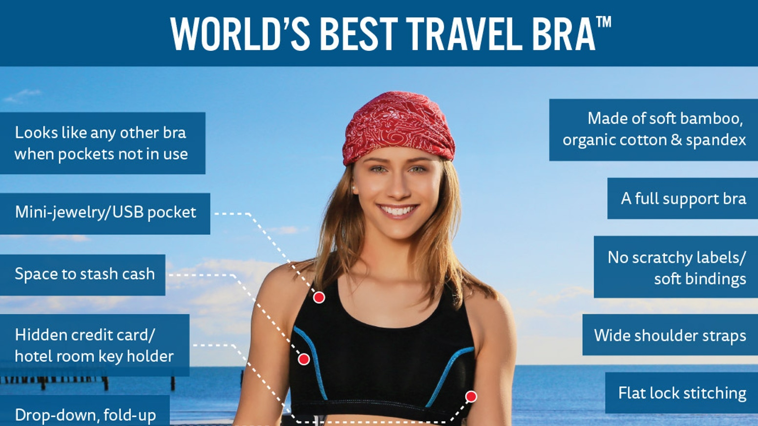 62dc421ed9 THE TRAVEL BRA provides peace of mind with secret pockets for passport