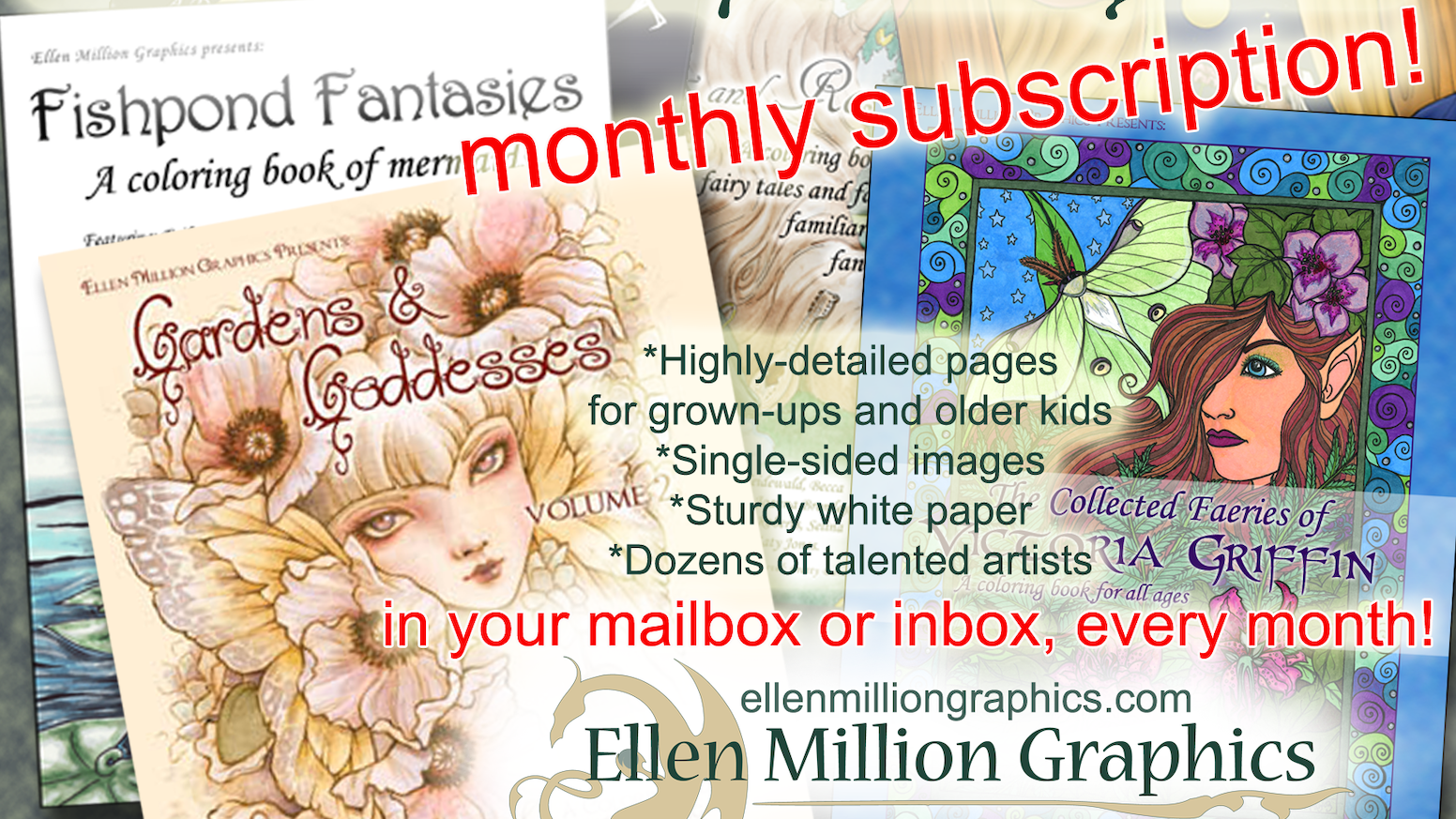 A one-year subscription service for people who love to color, with highly detailed fantasy illustrations. PDF and hardcopy available!