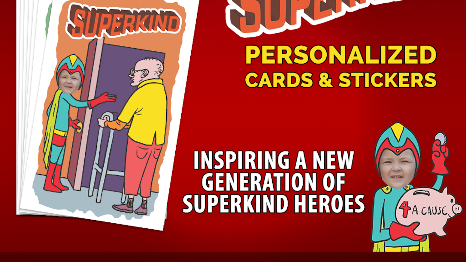 Personalized kindness cards & stickers with your child featured as SuperKind, an everyday hero saving the world with acts of kindness.