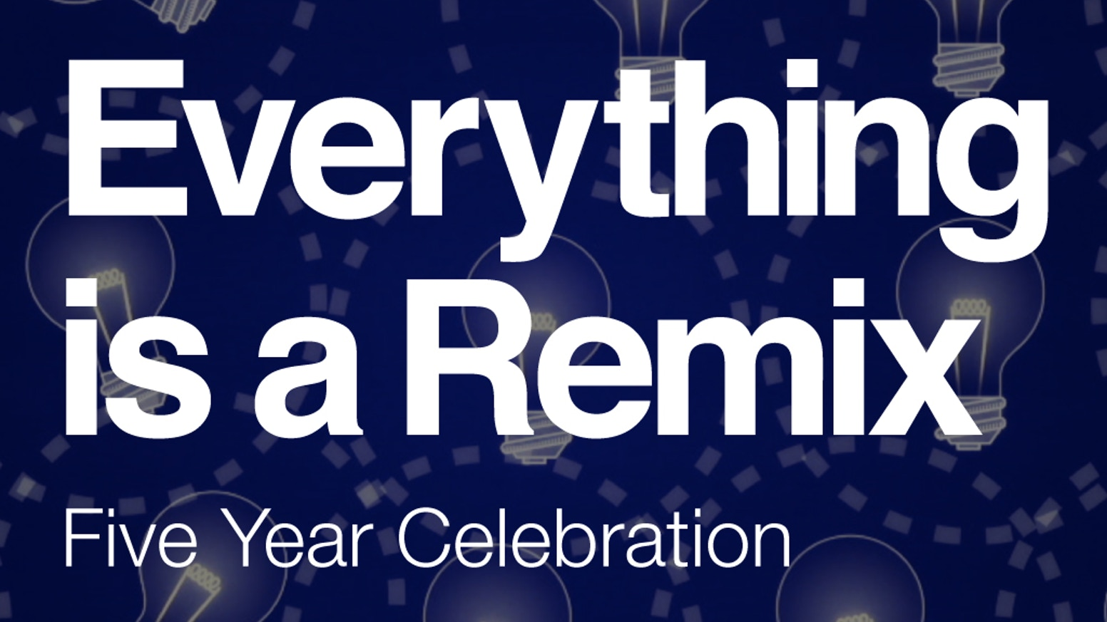 It's been five years since the launch of the popular Everything is a Remix video series. Celebrate by picking up a t-shirt or poster.