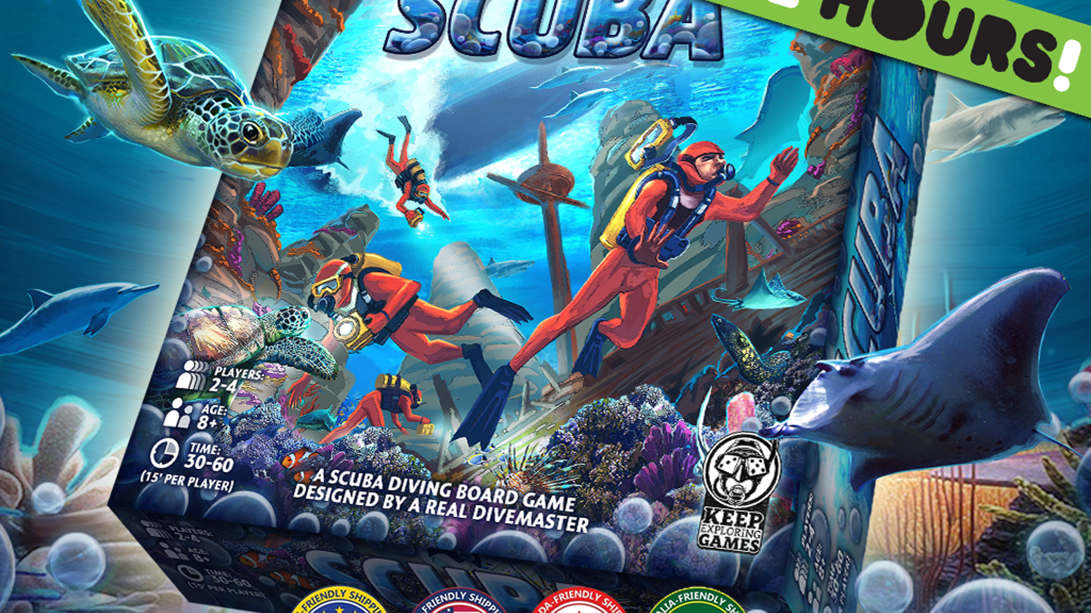 Scuba is a realistic and fun 30-60 minute board game designed for 2-4 family gamers, experienced board gamers and scuba divers!