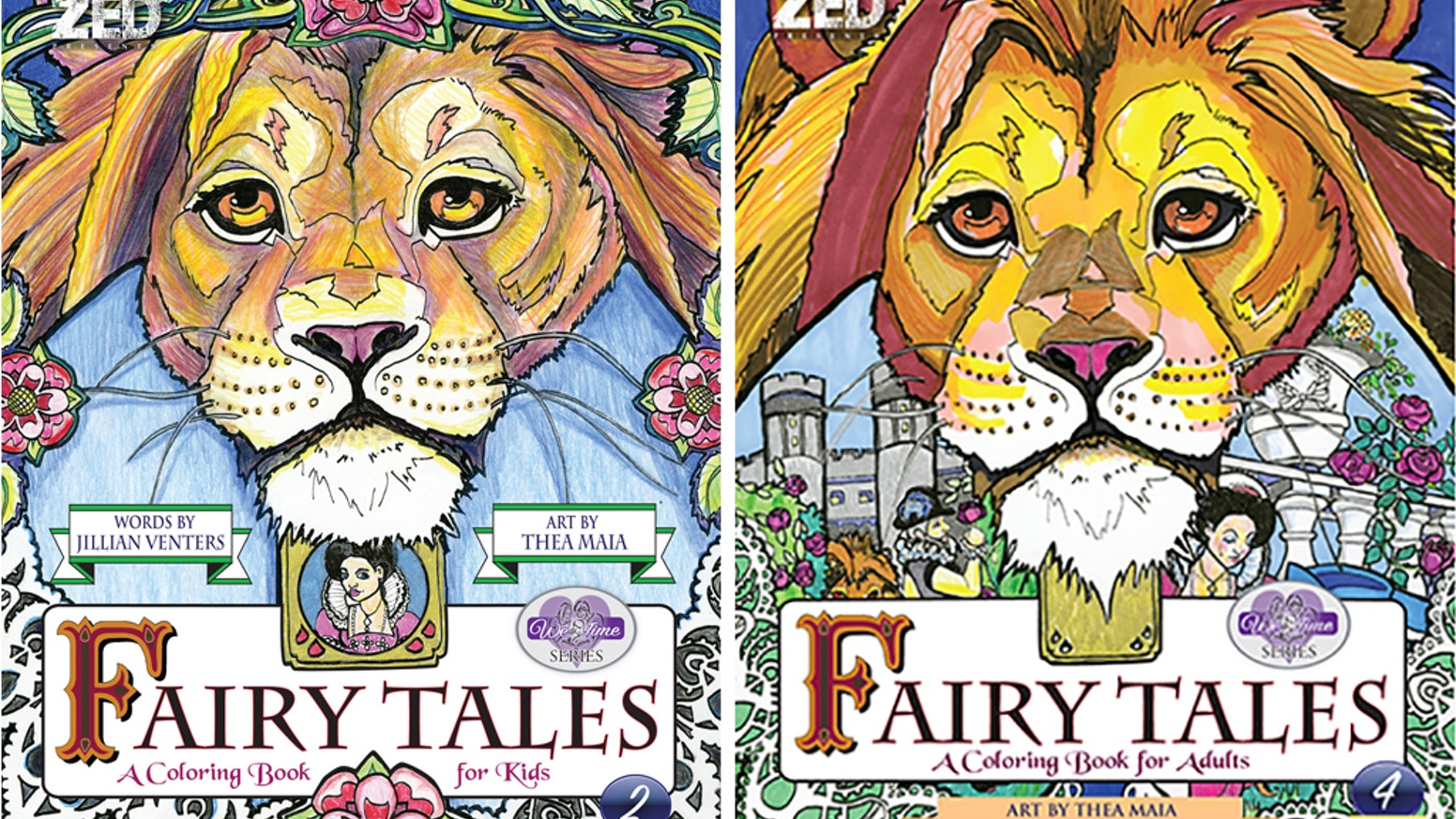 Twin coloring books with different levels of detailed illustrations and stories for adult and child. You no longer have to share yours!