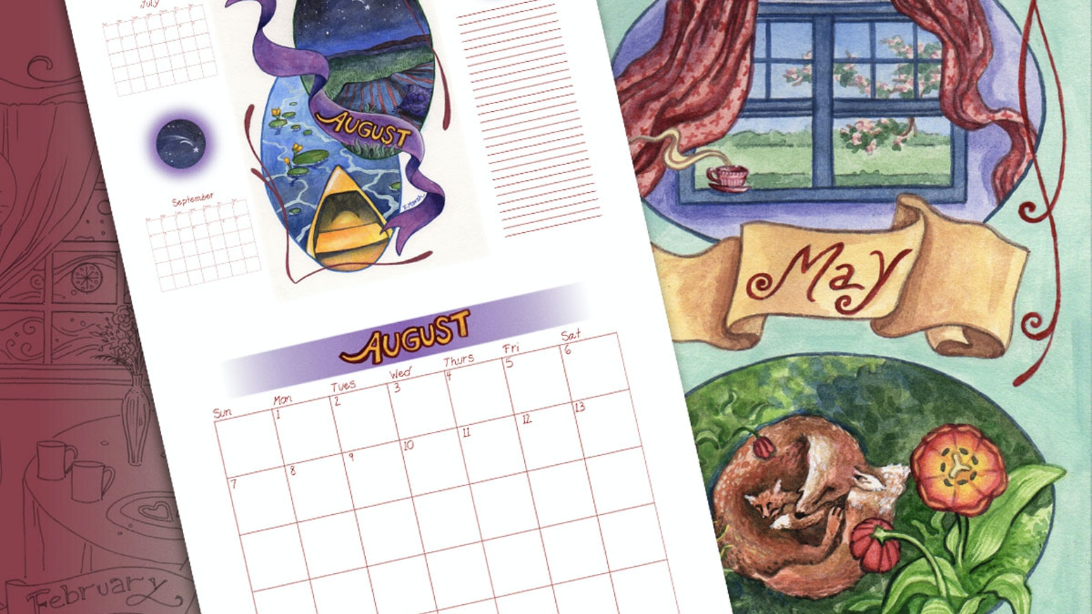 Help me turn my Art Noveau-inspired illustrations of New Hampshire's sweet seasons into a printed wall calendar!