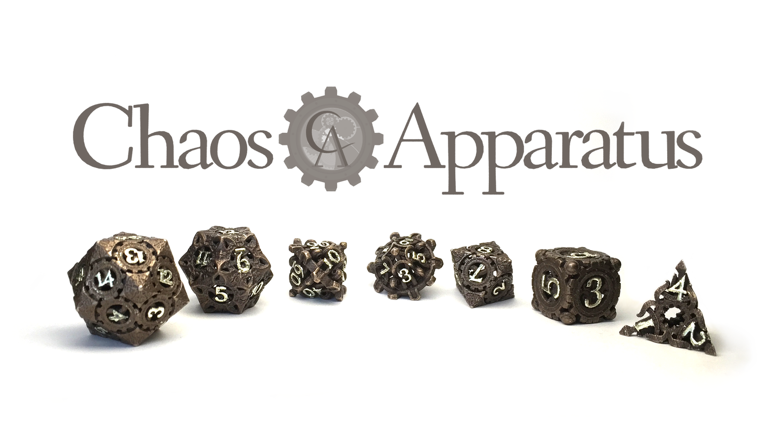 Beautiful and precise steampunk dice 3D printed in stainless steel and gilded with semi-precious or precious metals.