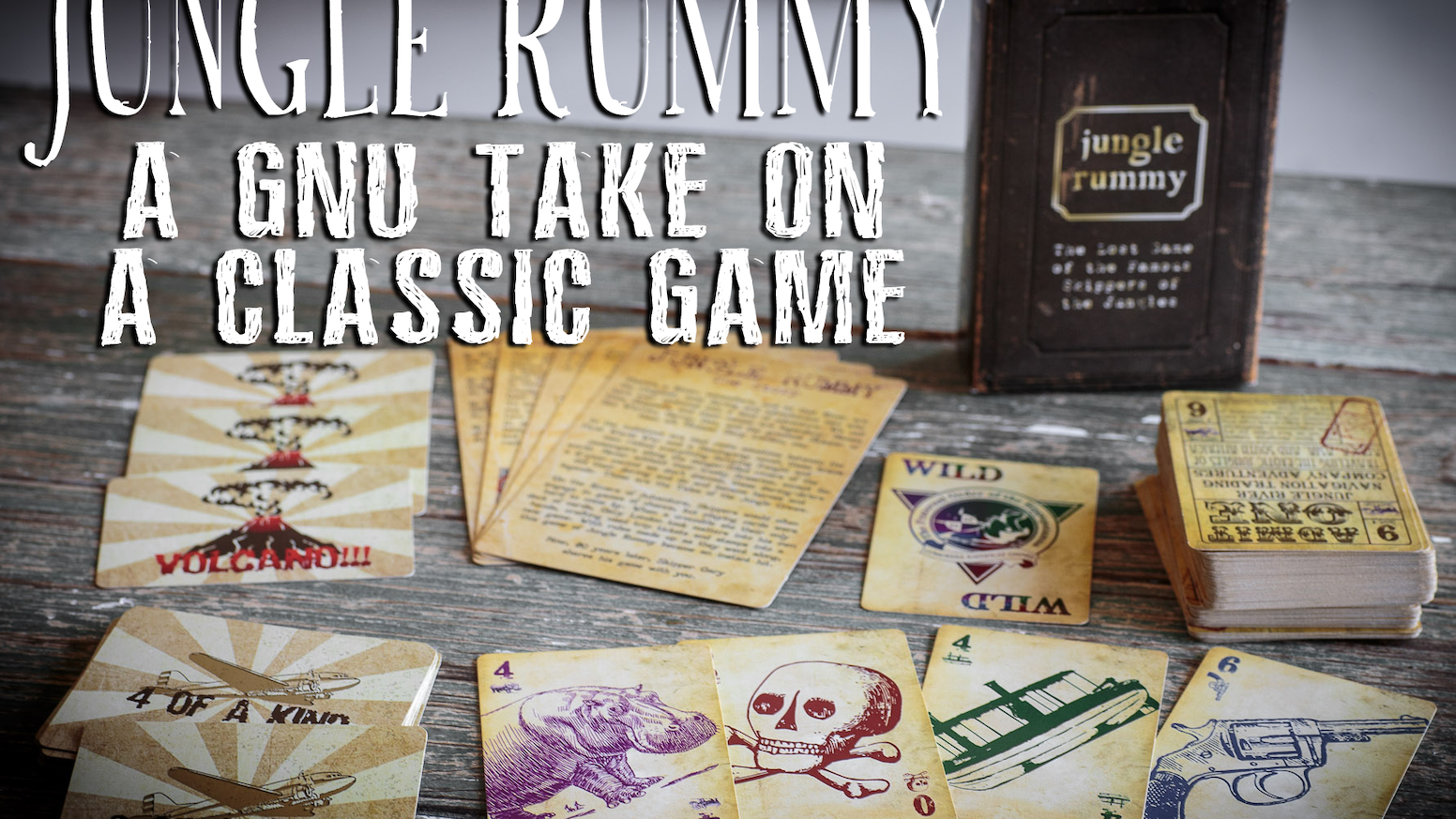 Jungle Rummy is a fast playing 2-4 player casual trick-taking card game, with fast changing objectives, and Adventure inspired art.