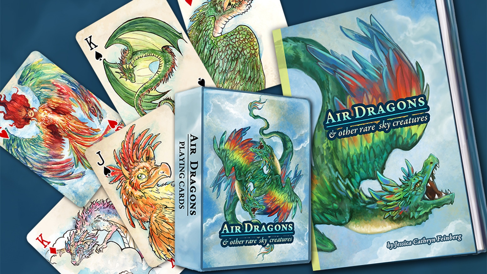 A deck of playing cards, a fully illustrated book, and much more!  Featuring Dragons & other creatures.