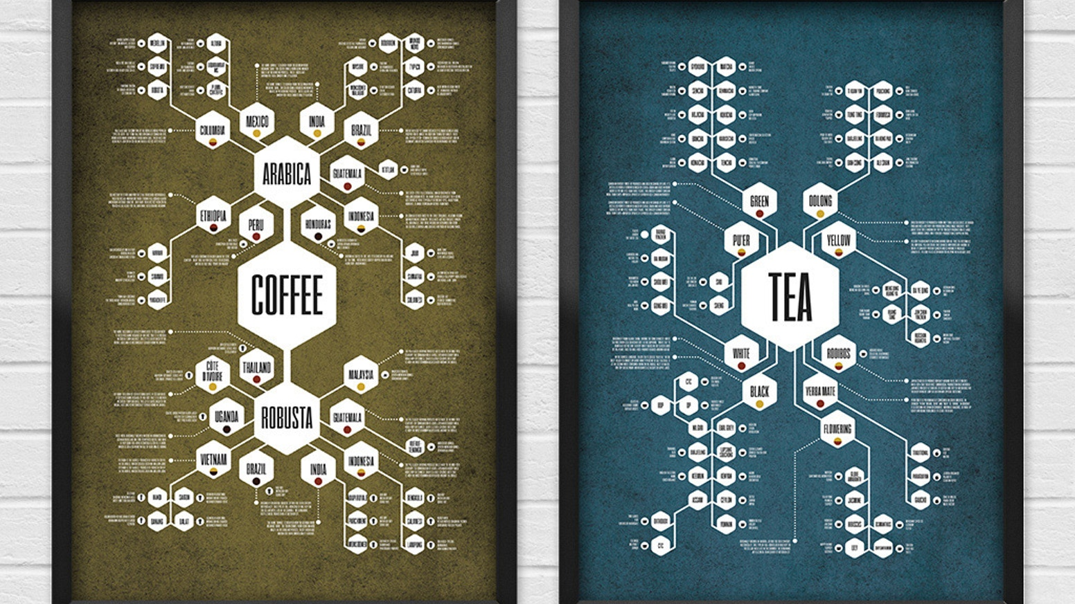 Flow chart poster series that meticulously documents the mysterious origins of Coffee and Tea. Plus new Beer, Whiskey and Wine prints.
